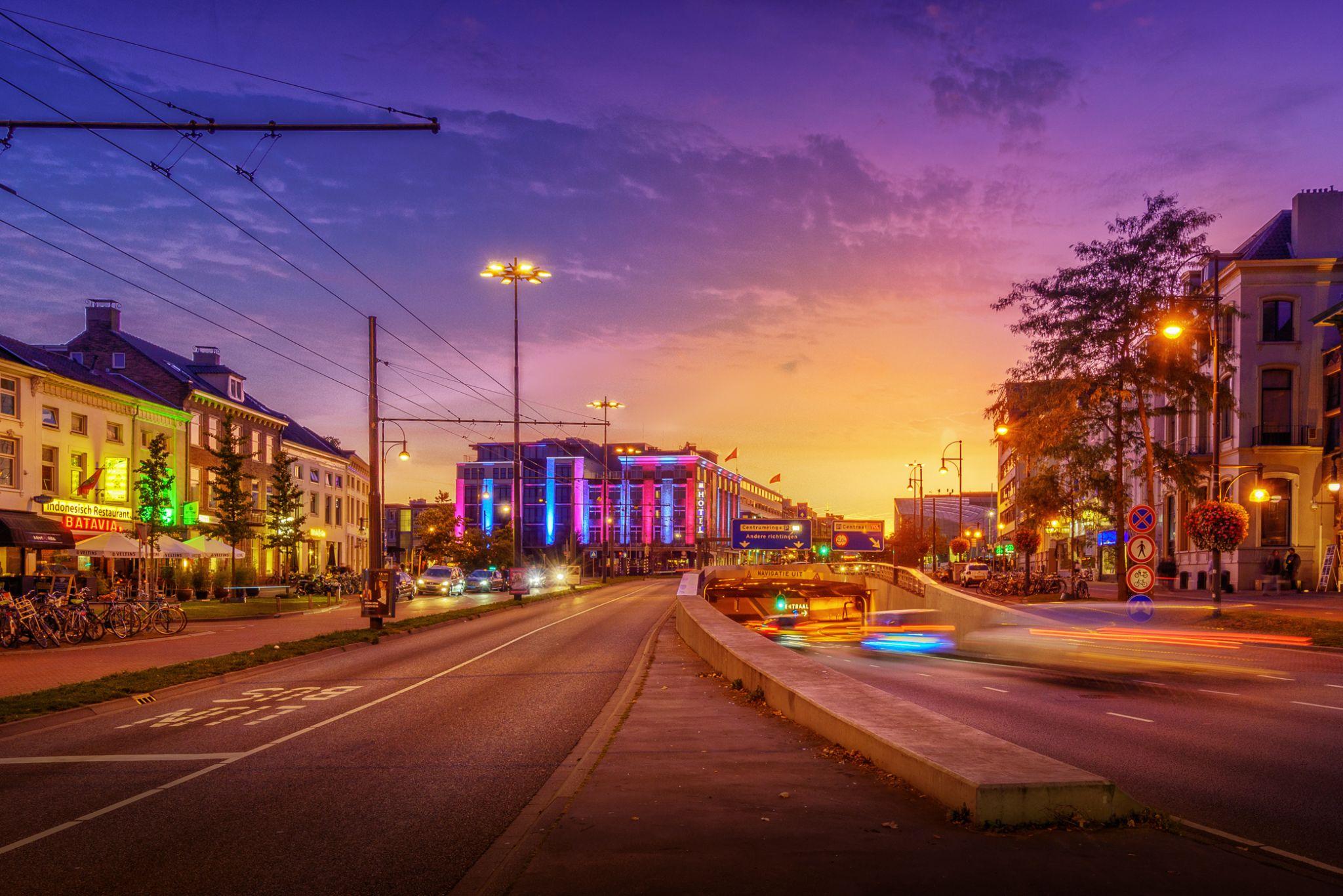 Arnhem Center at night, Netherlands