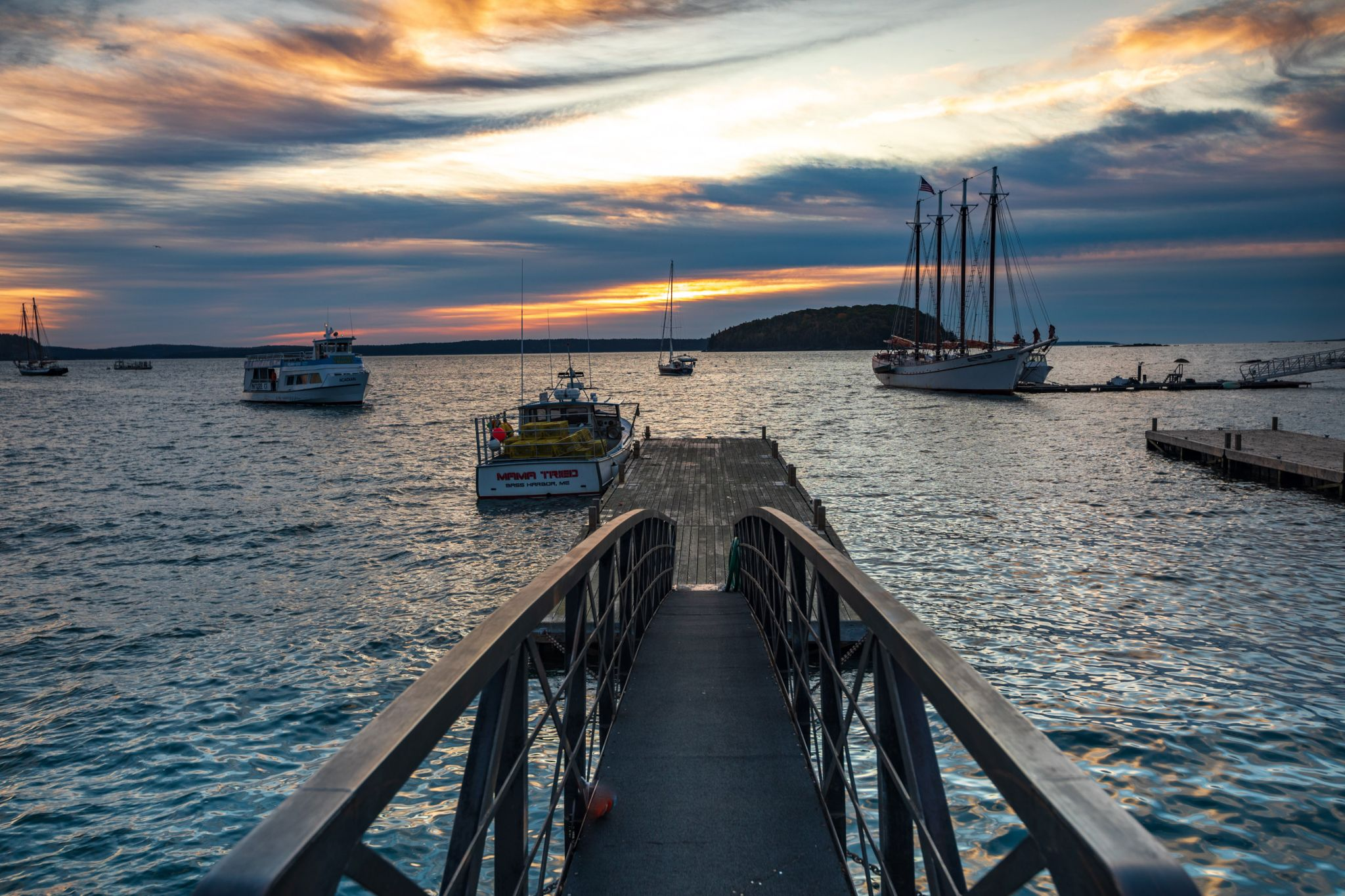 Bar Habor Wharf Maine Sunrise, USA