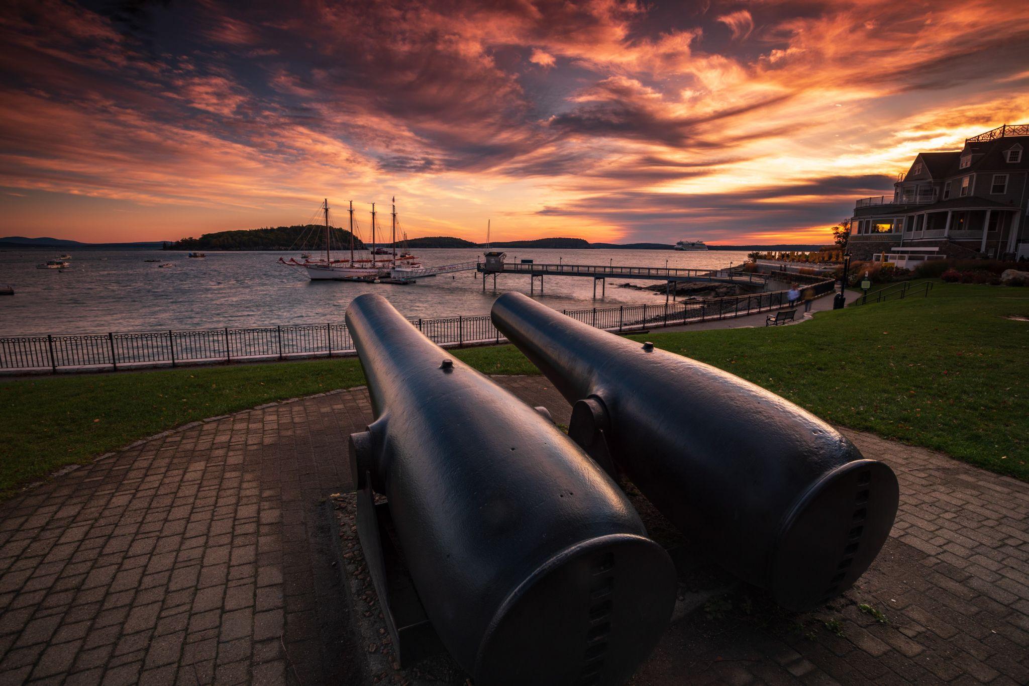 Bar Harbor Maine Cannon Sunrise, USA