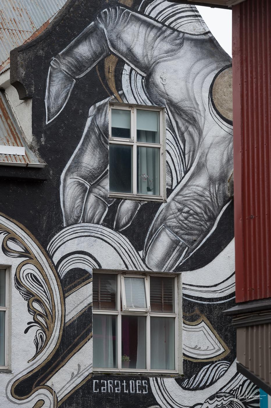 Big hand painting on main street, Iceland
