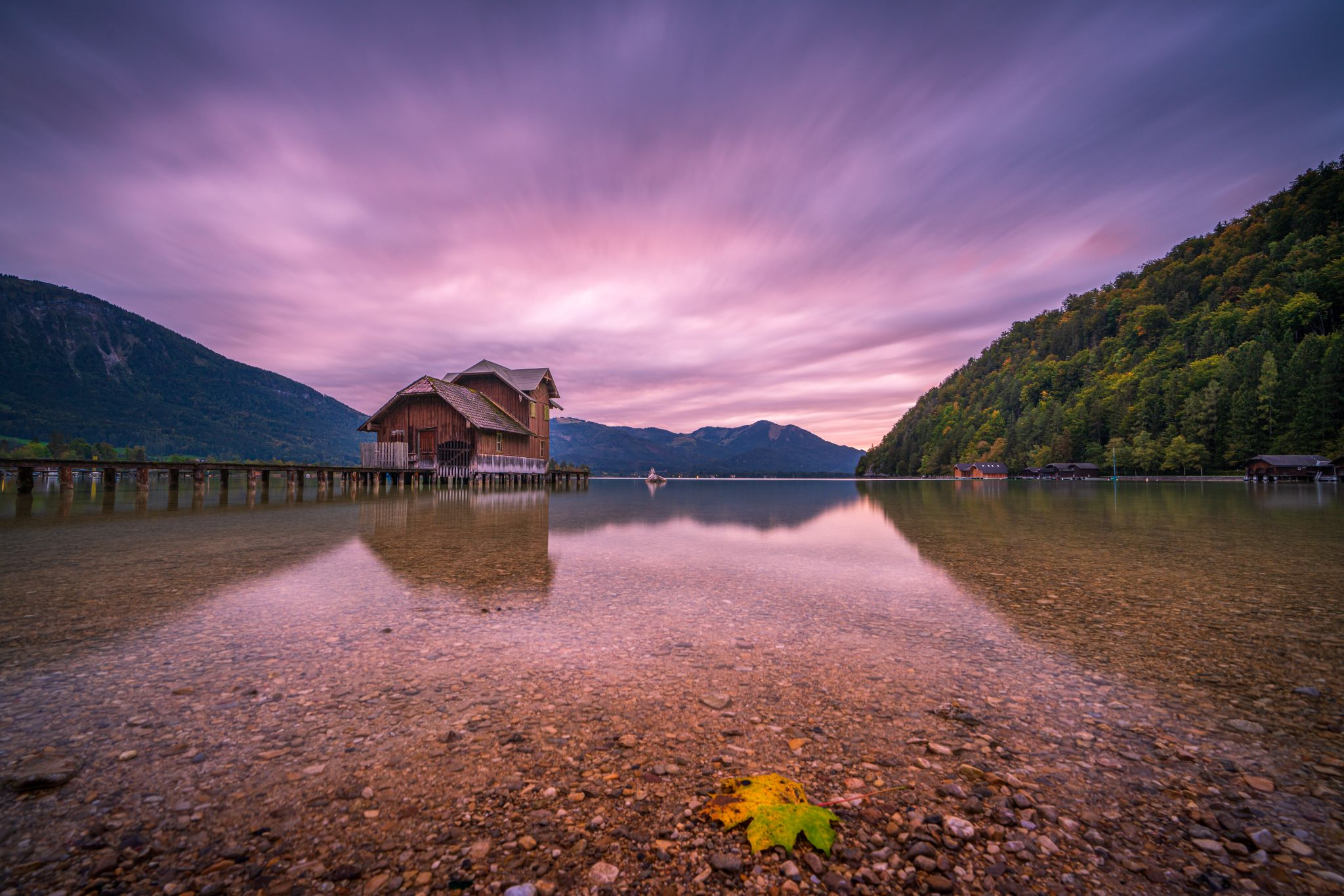 Boathouse on the lake, Austria