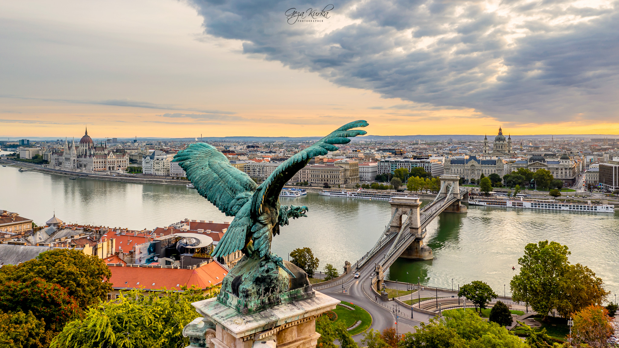 Budapest cityscape with turul bird., Hungary