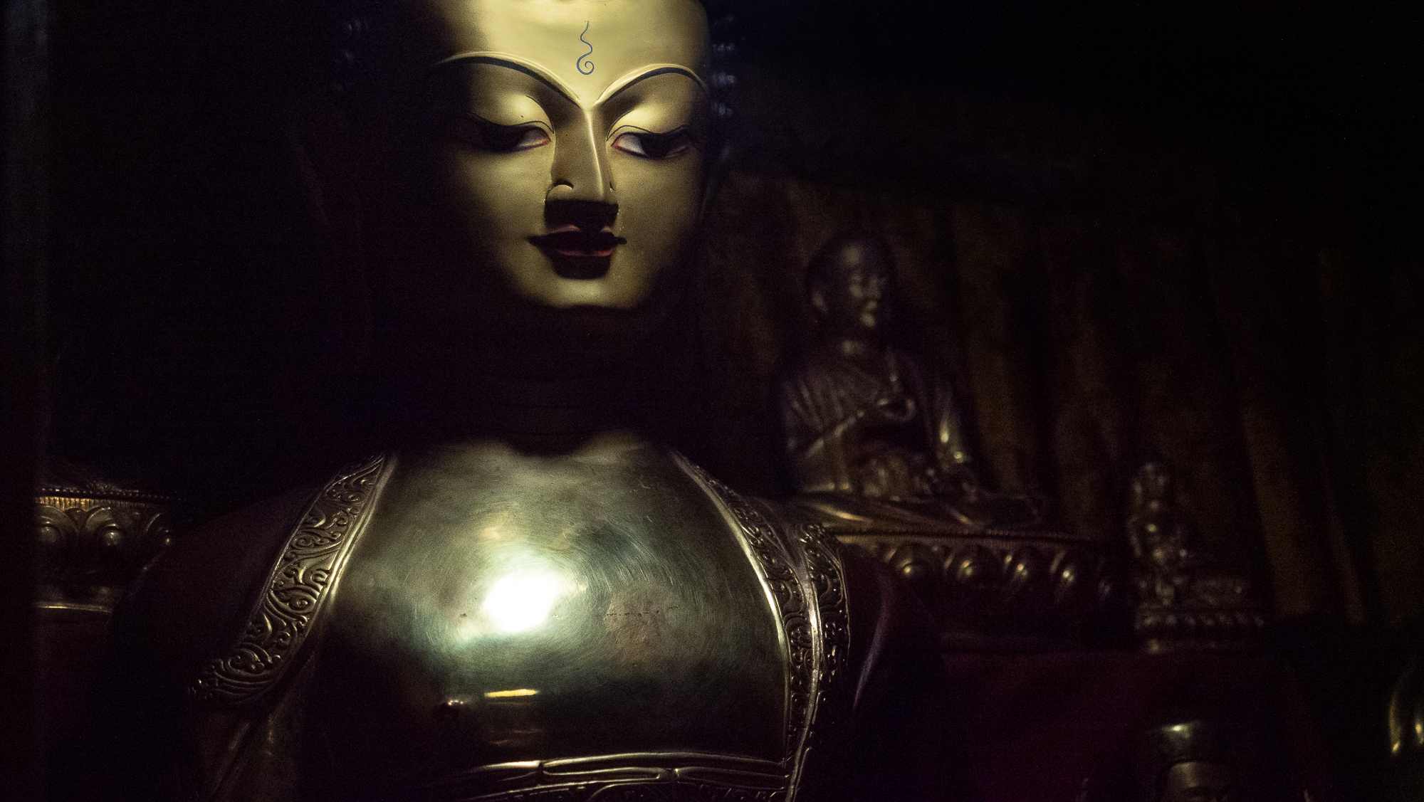 Buddha details in monastery, Nepal
