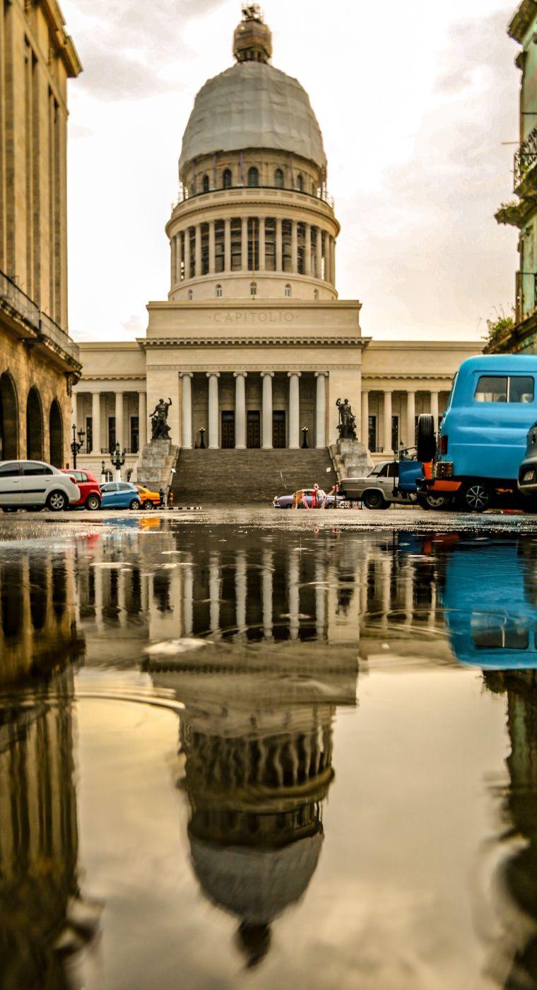 Capitol building street view, Cuba