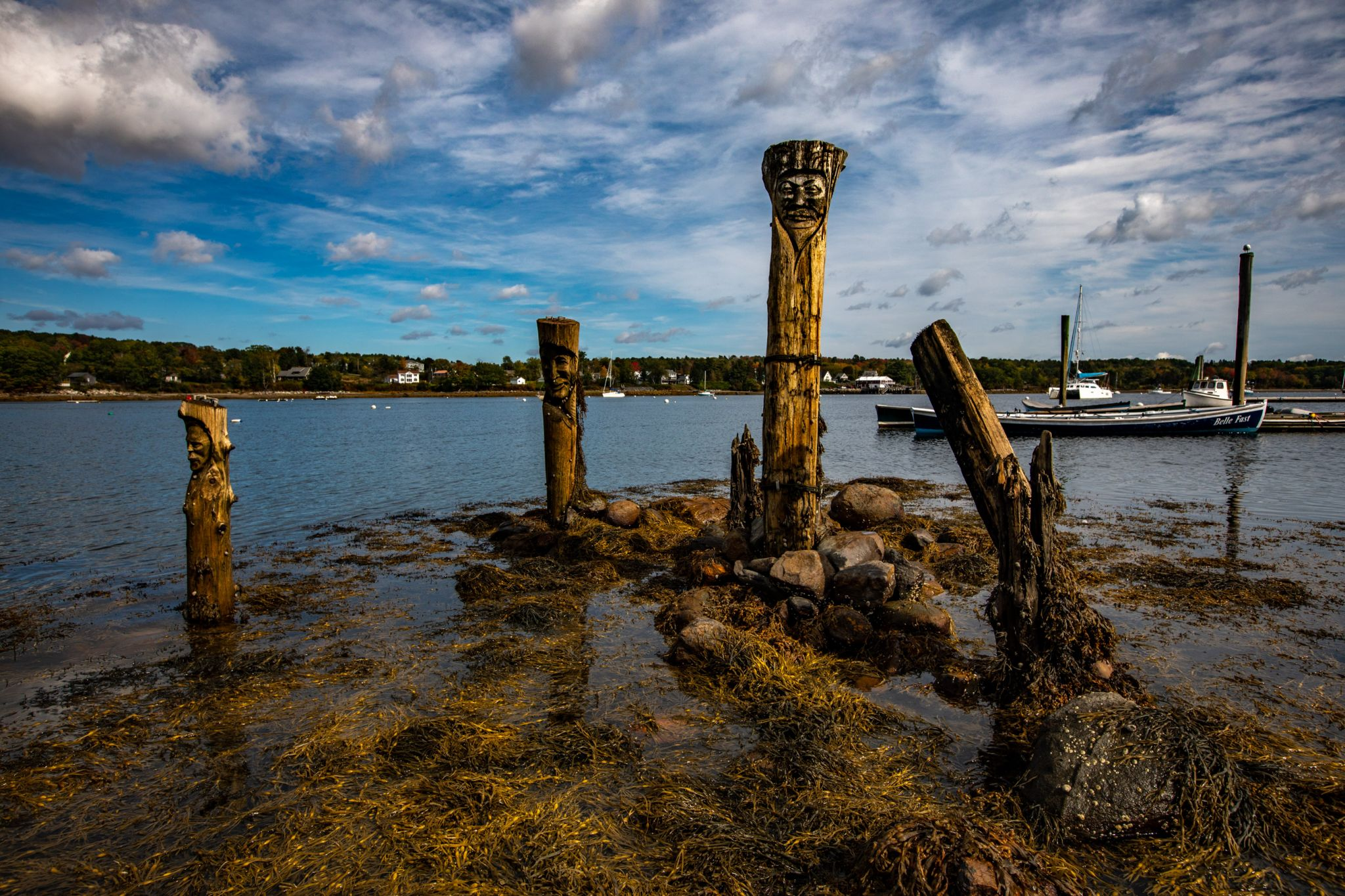 Carved Poles in the Harbour, Belfast, Maine, USA