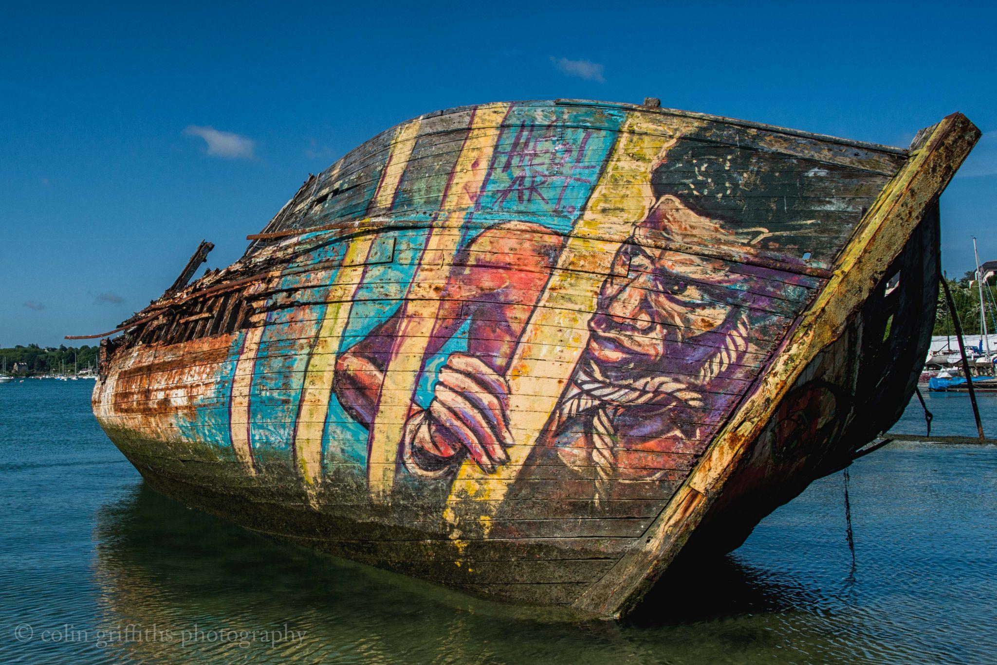 Dead boats bay, France