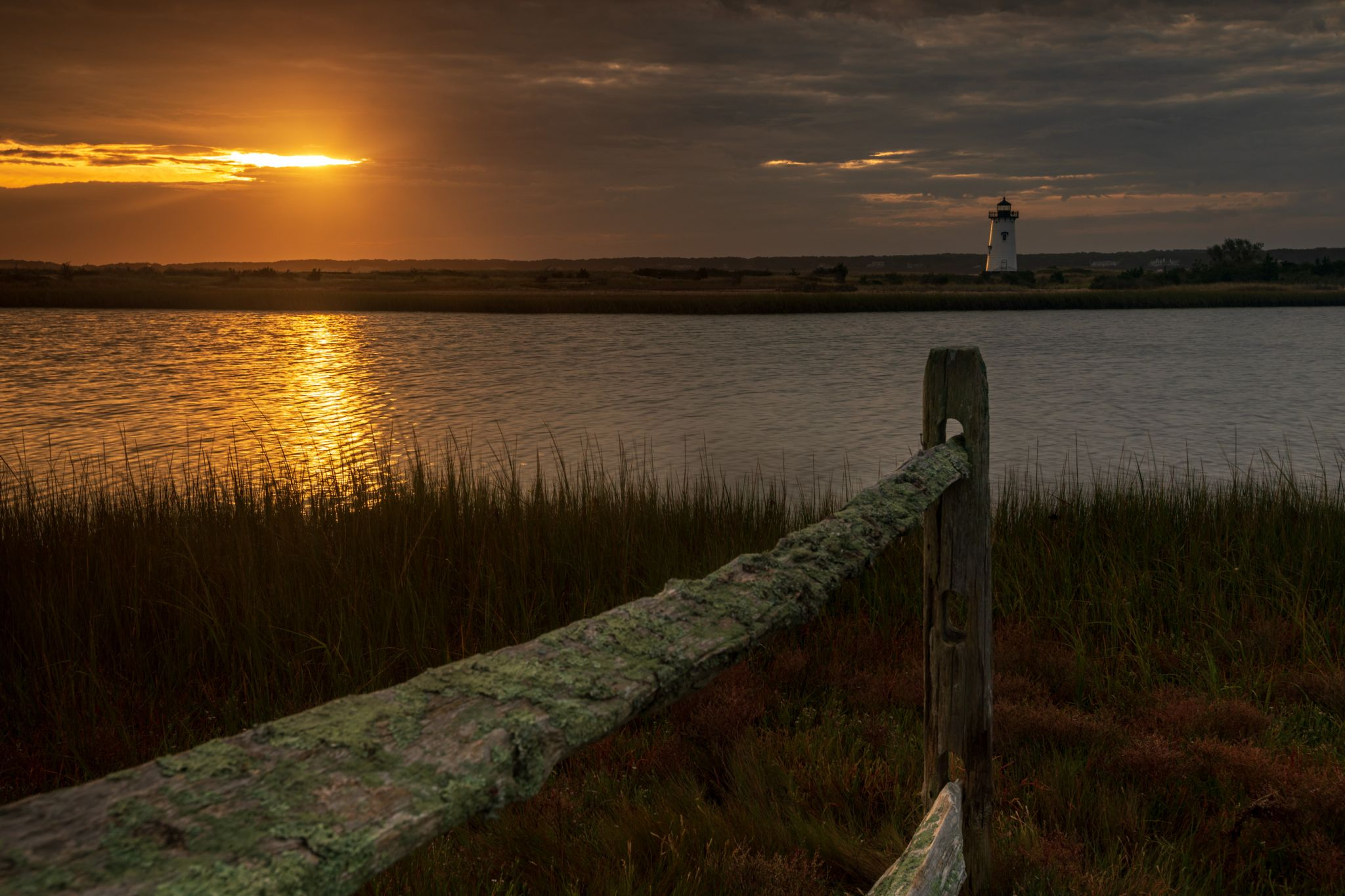 Edgartown lighthouse, across the lagoon Martha's Vineyard, USA