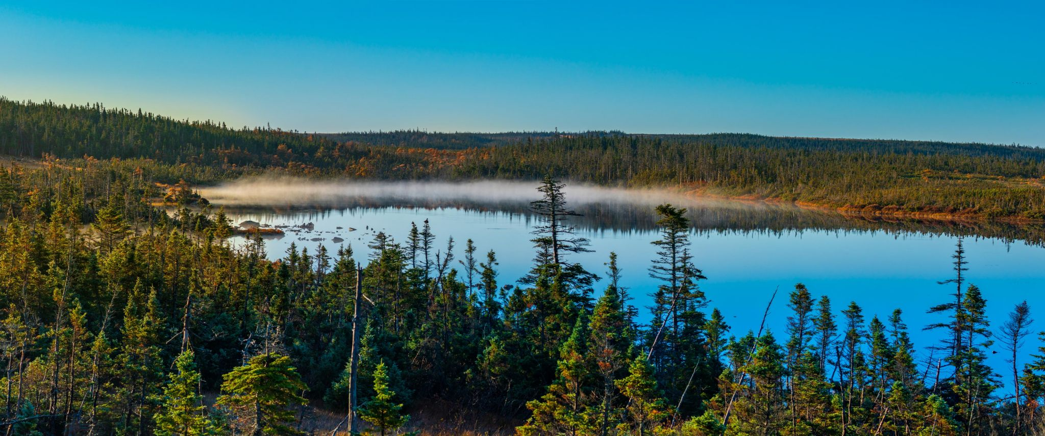French Lake early morning mist Cape Breton Nova Scotia, Canada