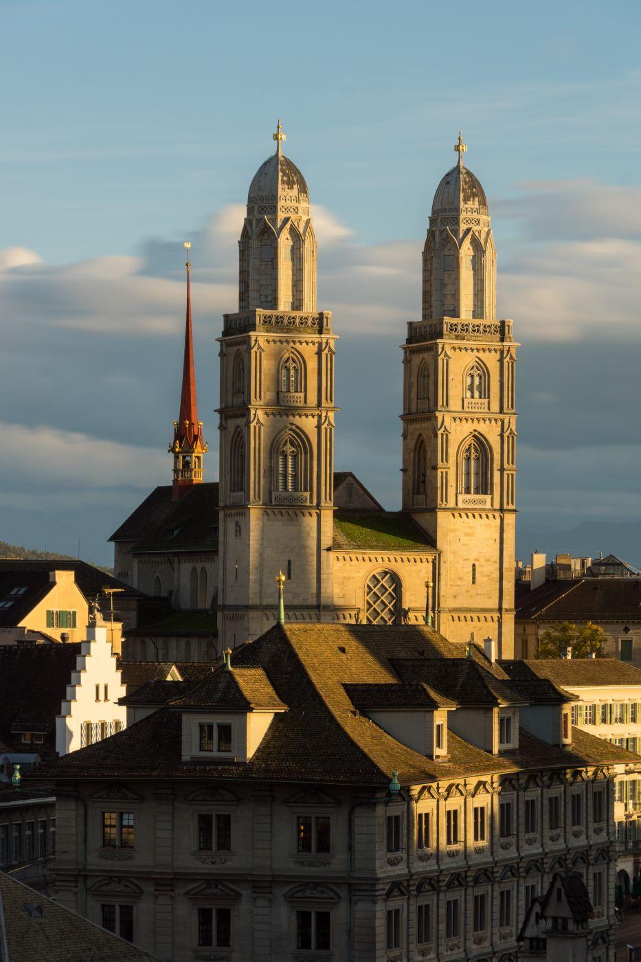 Grossmünster from Lindenhof, Switzerland