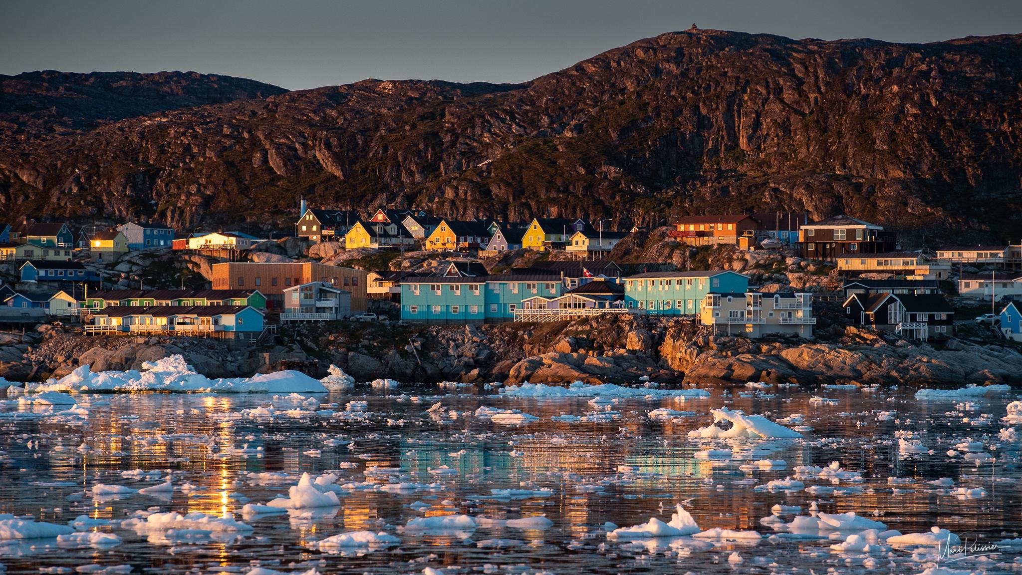 Ilulissat at sunrise from Disko bay, Greenland