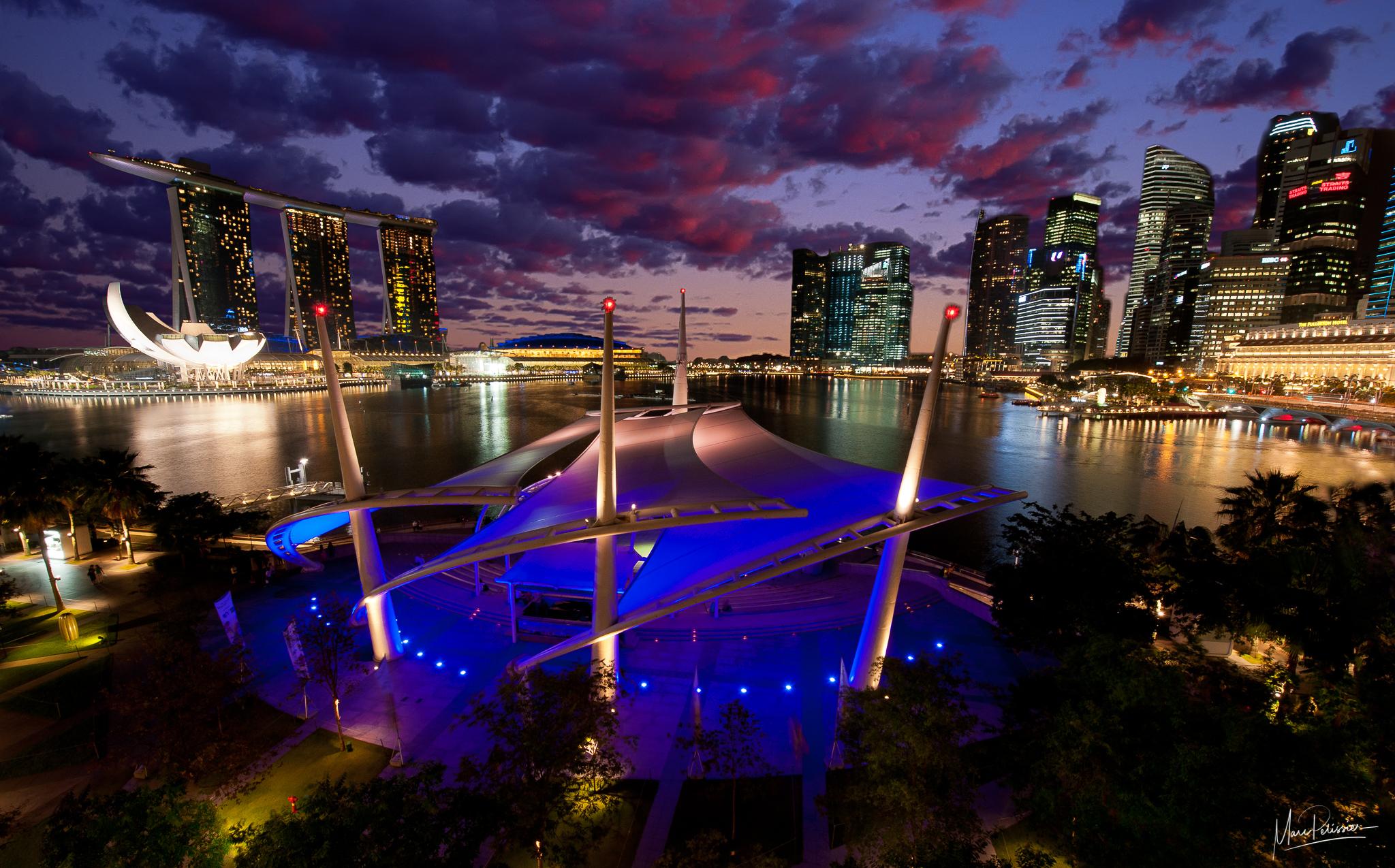 Marina Bay sand view from theater platform, Singapore
