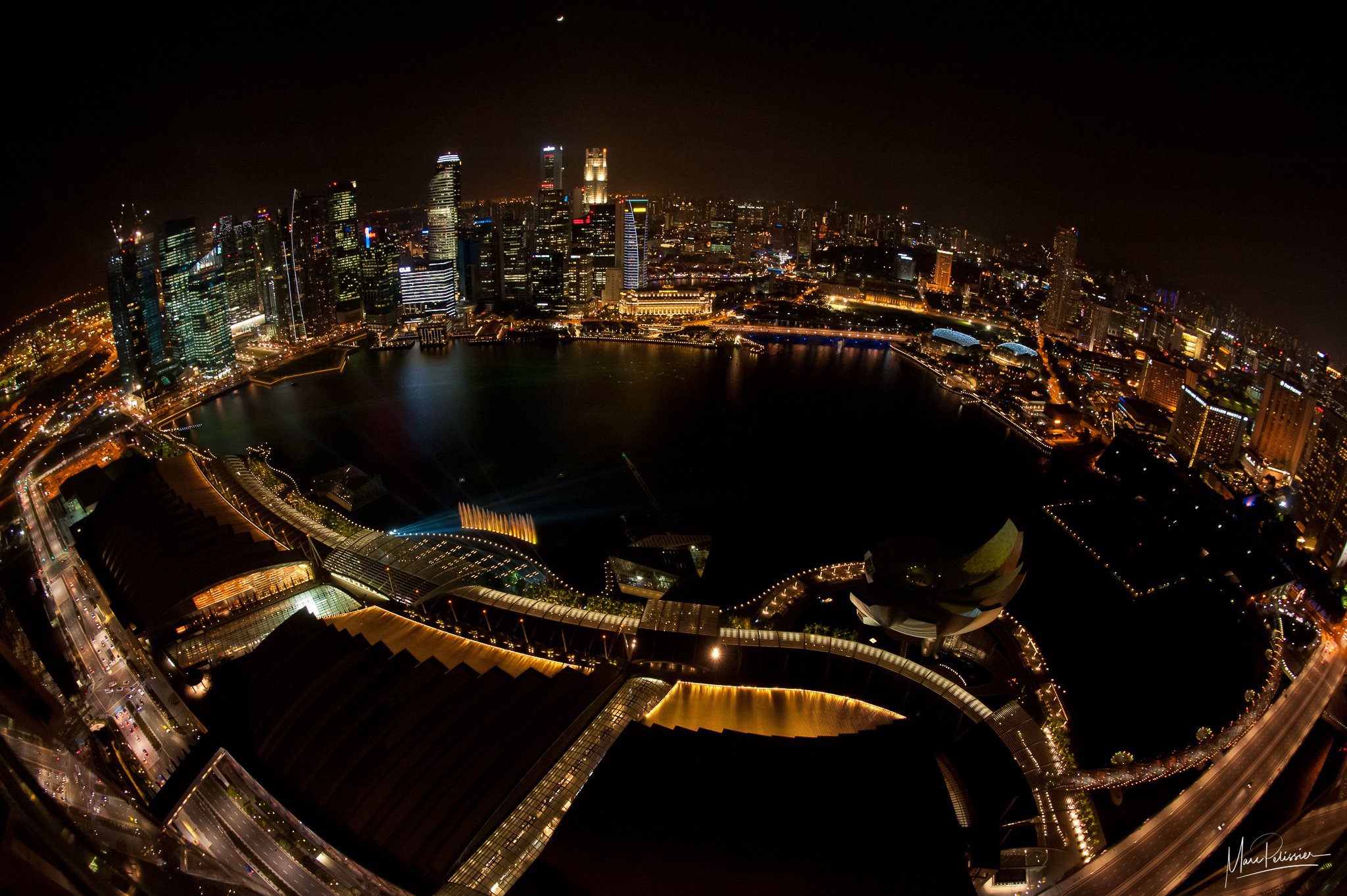 Marina Bay view from top of Bay sands platform, Singapore