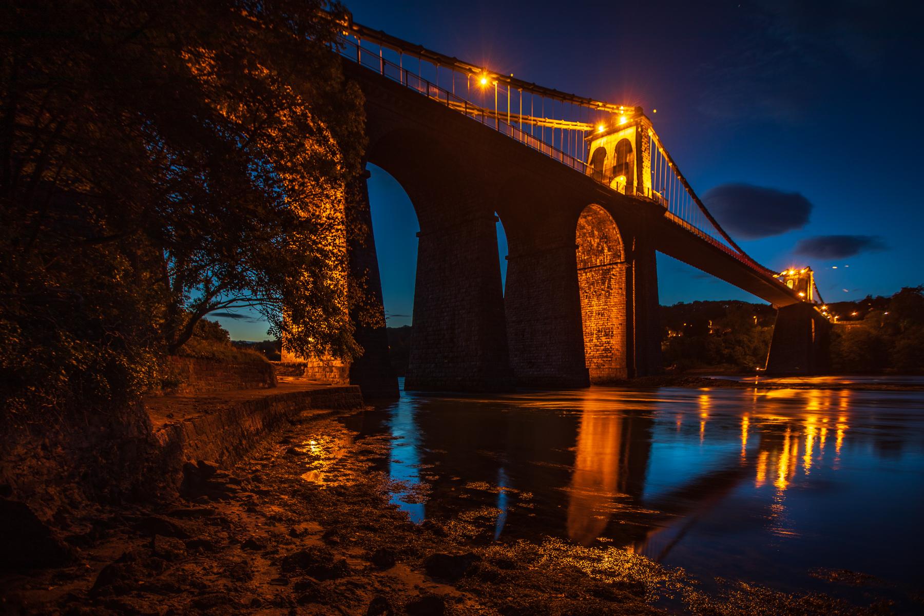 Menai Bridge blue hour, Bangor, Wales, United Kingdom