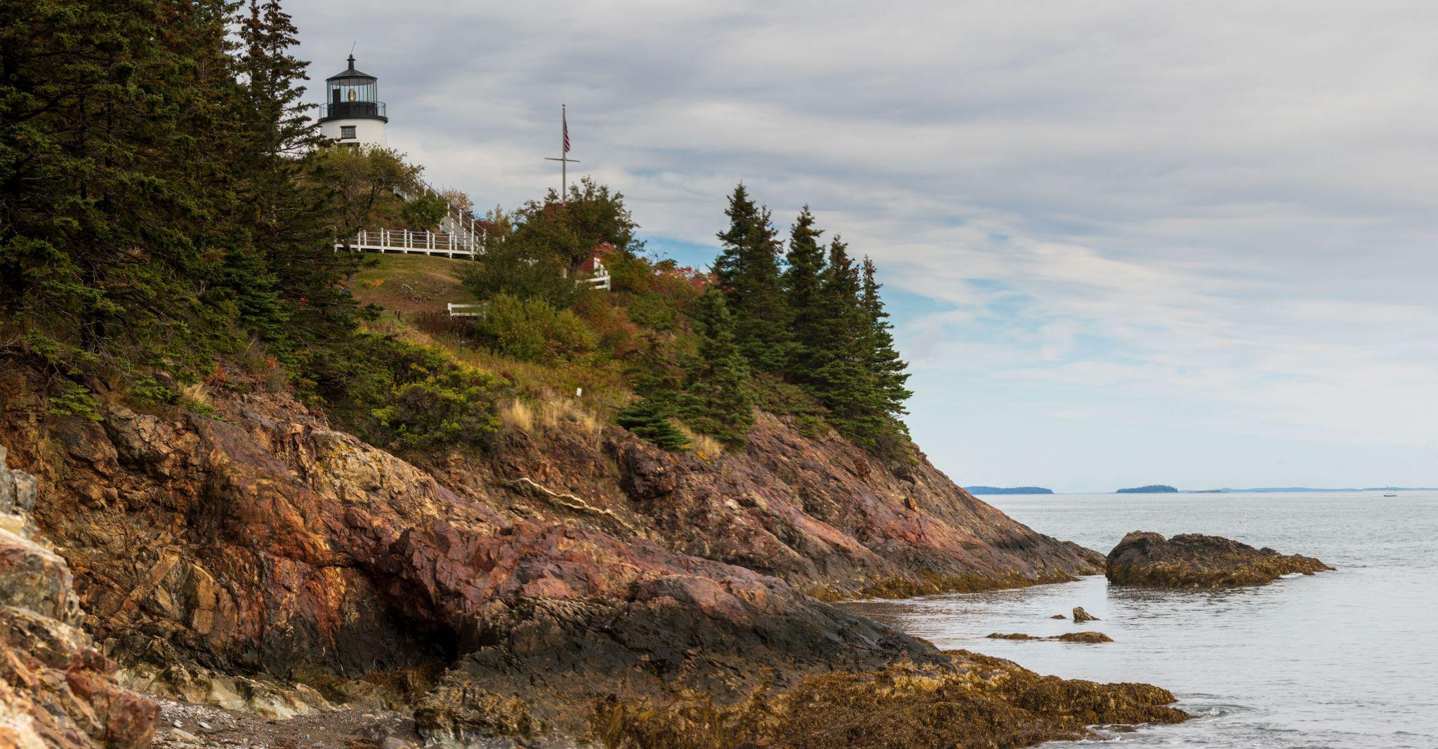 Owls Head Lighthouse from the Beach, Maine, USA