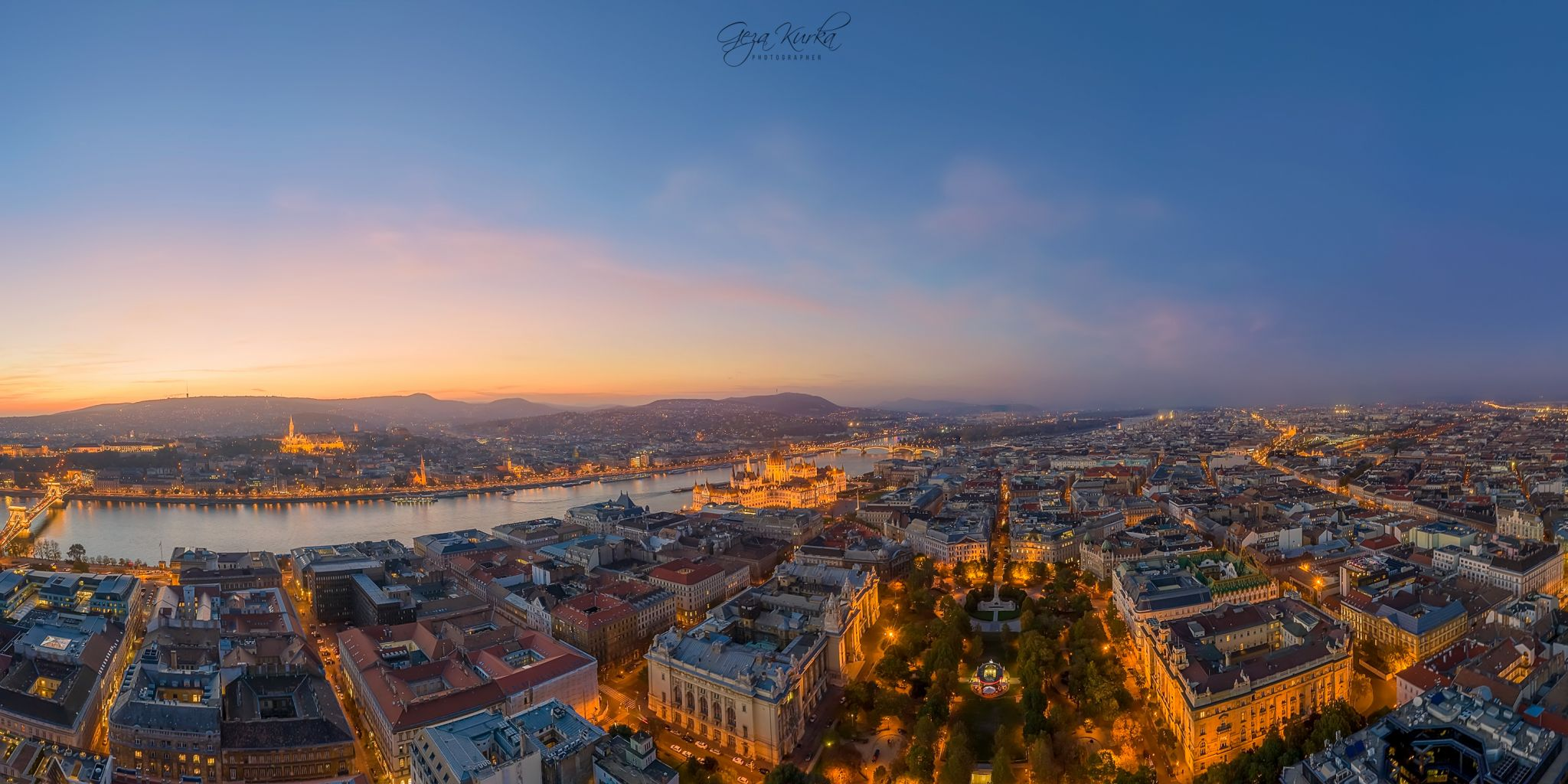 Panoramic aerial cityscape about Budapest downtown., Hungary