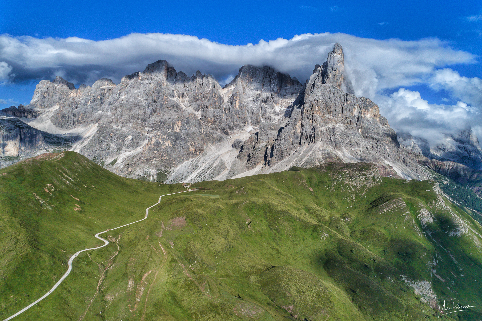 Passo rolle peaks in the cloud, Italy