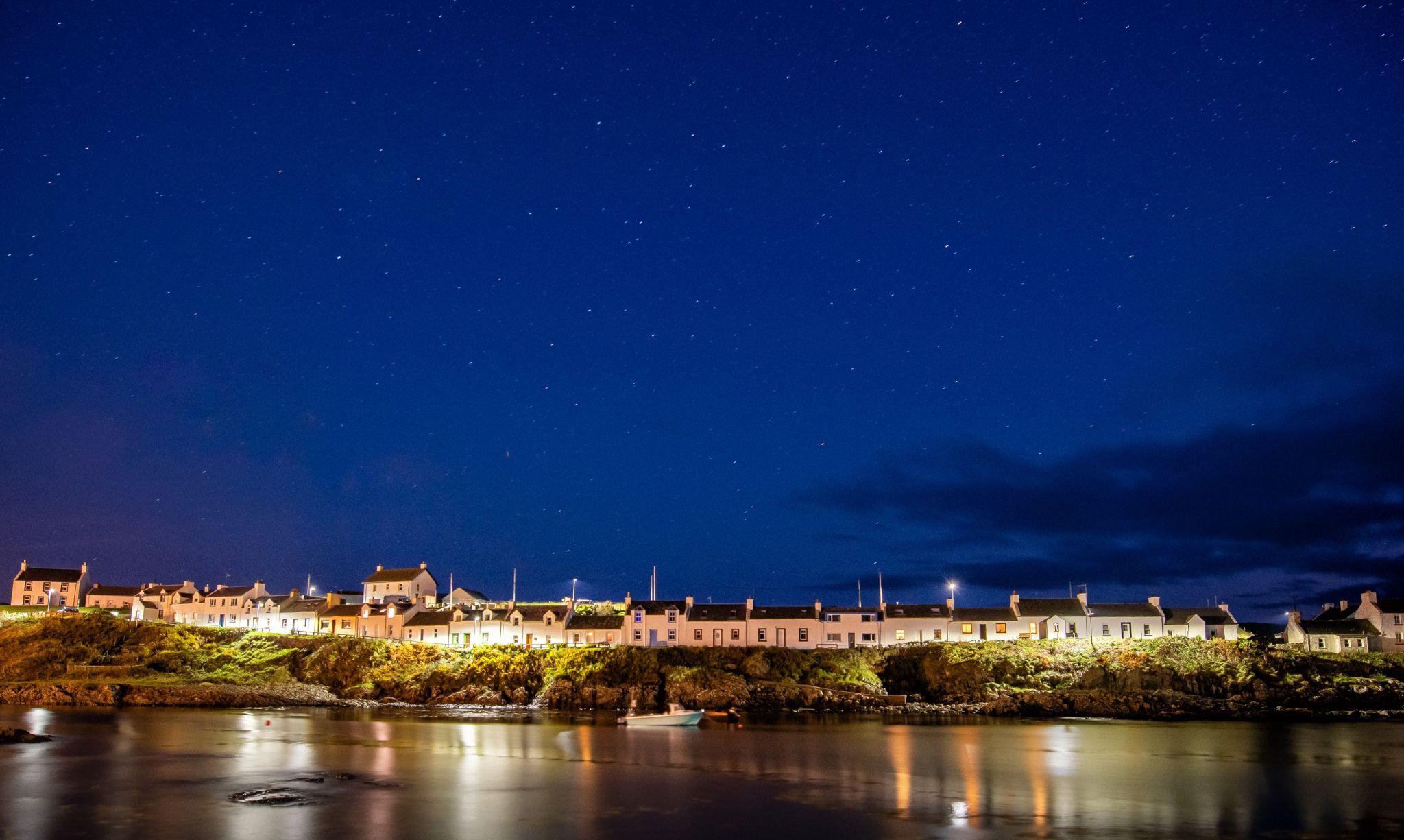 Portnaven on the Isle of Islay at night, United Kingdom