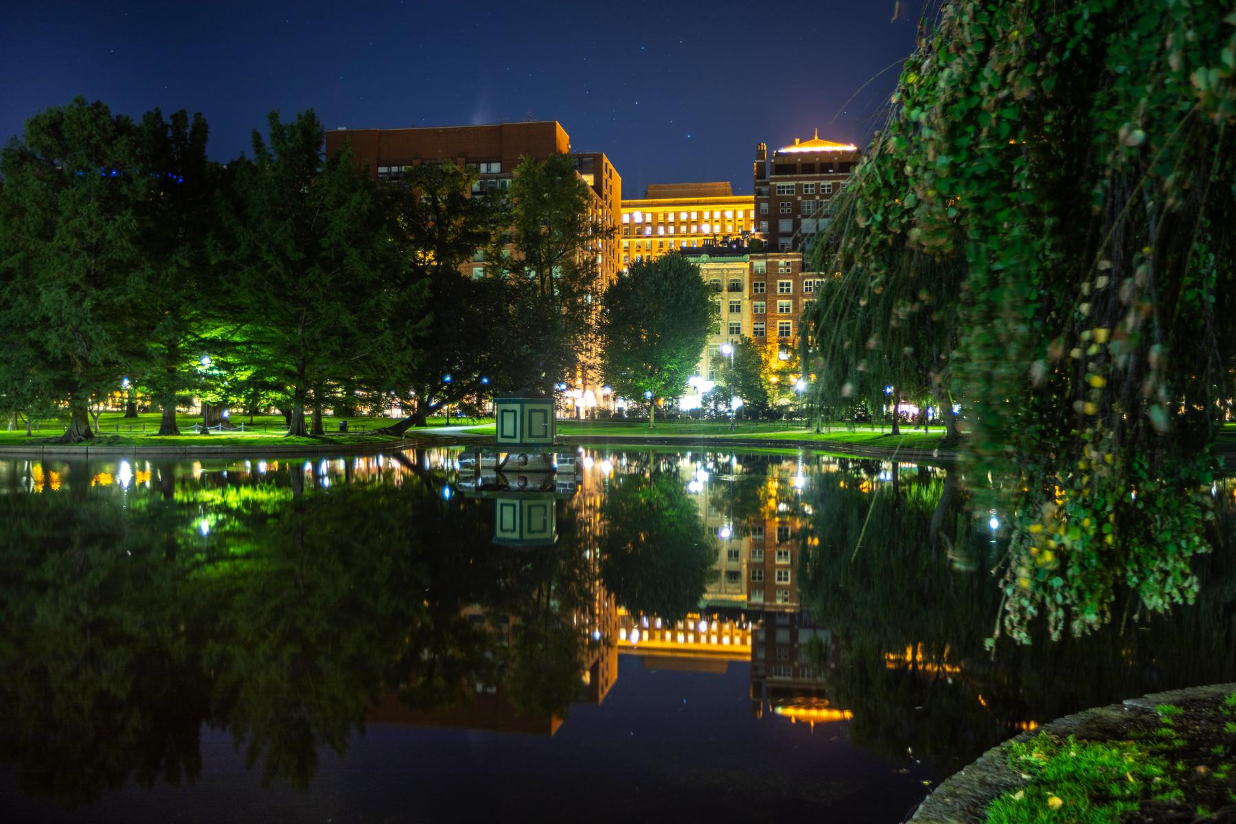 Reflections Boston Public Garden Blue hour, USA