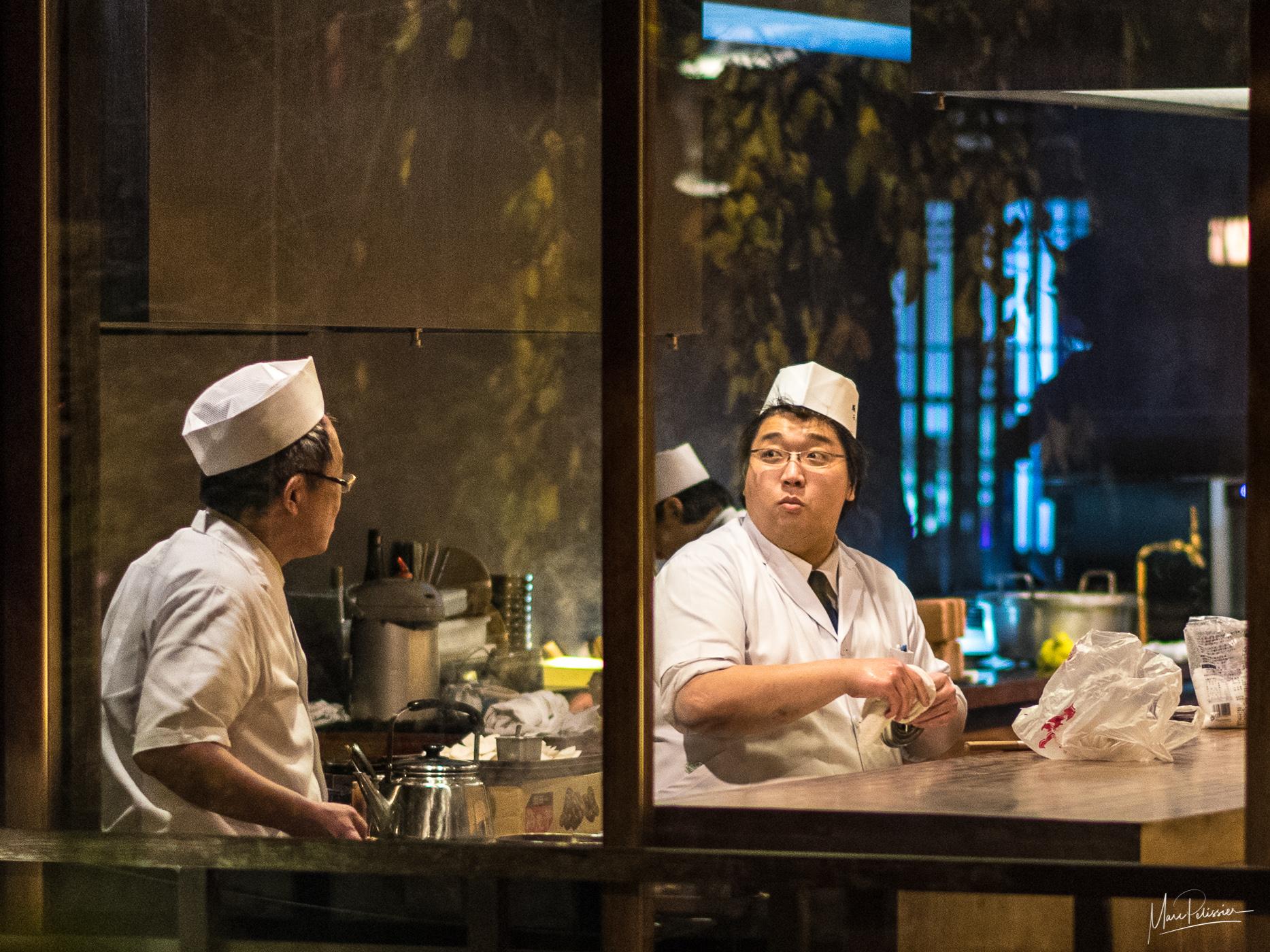 Restaurant kitchen backview, Japan