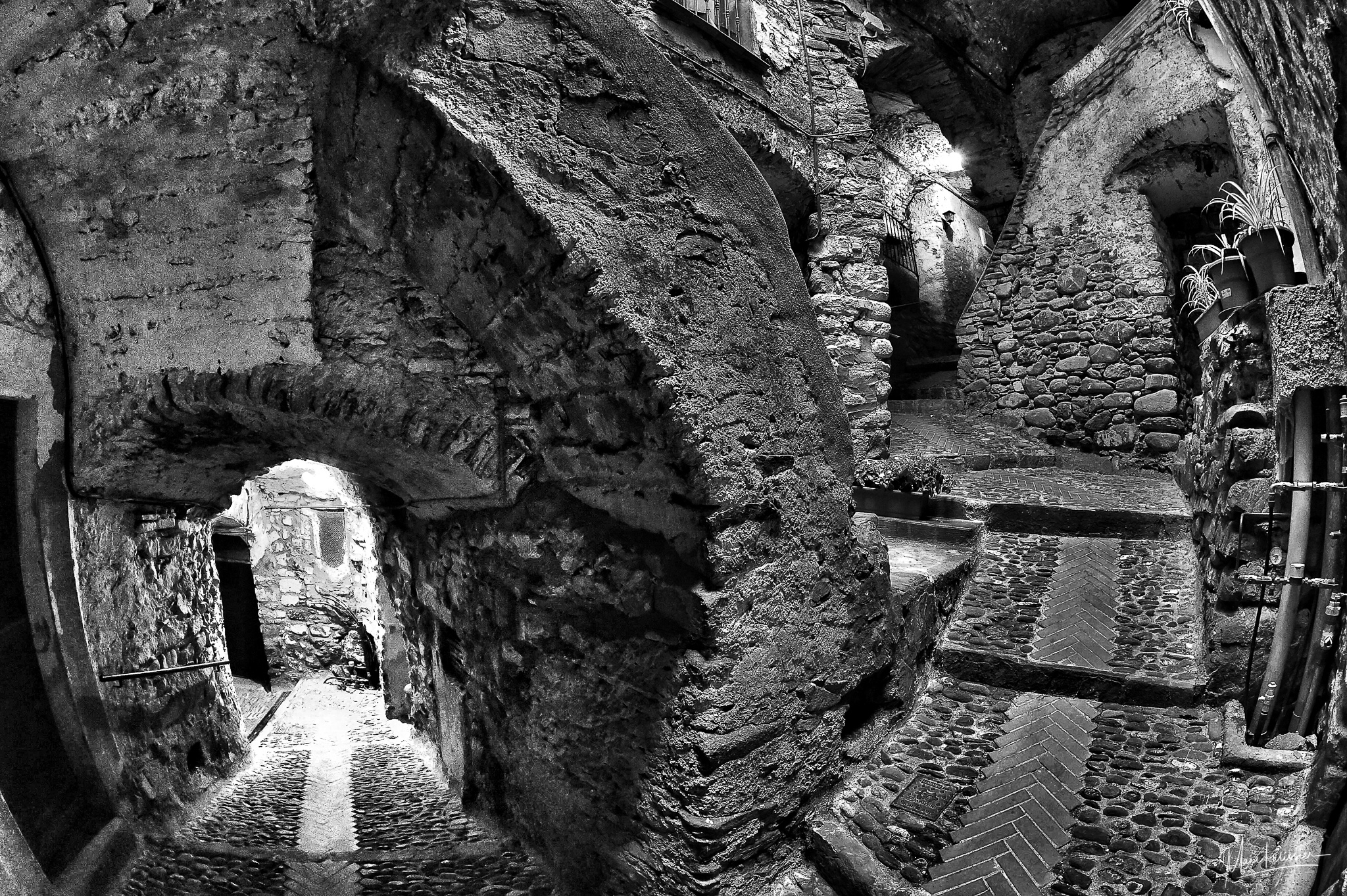 Rock tunnel in the heart of the DolceAcqua village, Italy