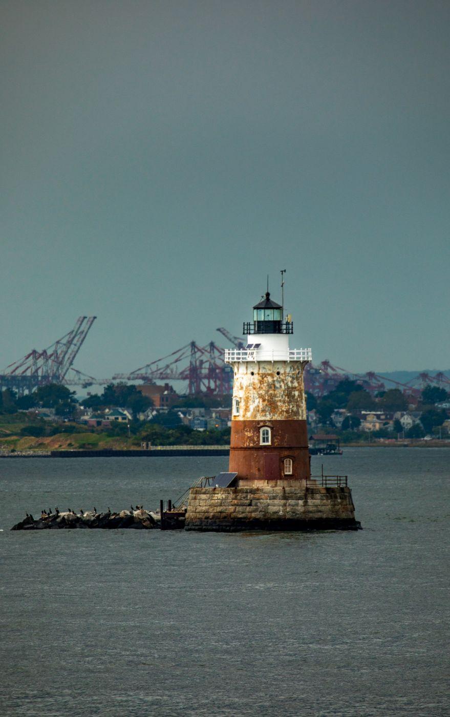 Romer Shoal Light Lower Manhattan to Staten Island, New York, USA