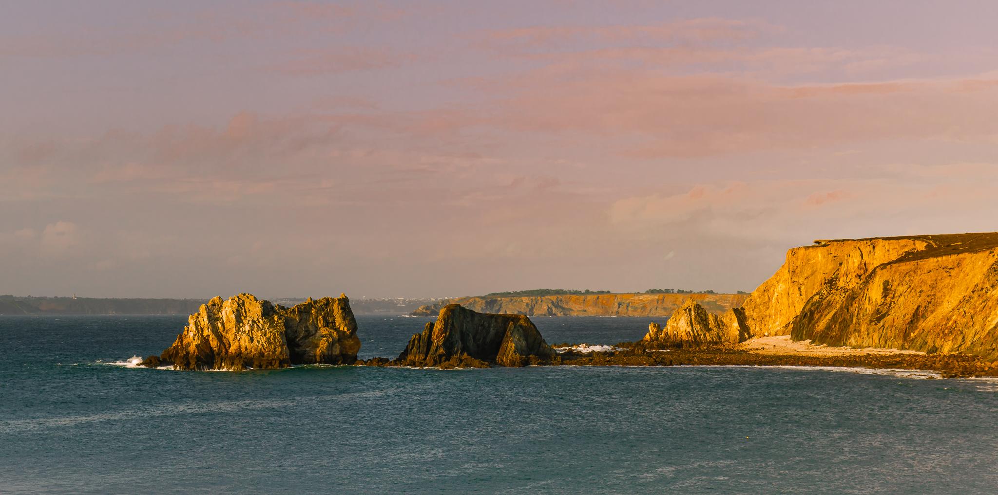Seastacks catching the last golden light, France