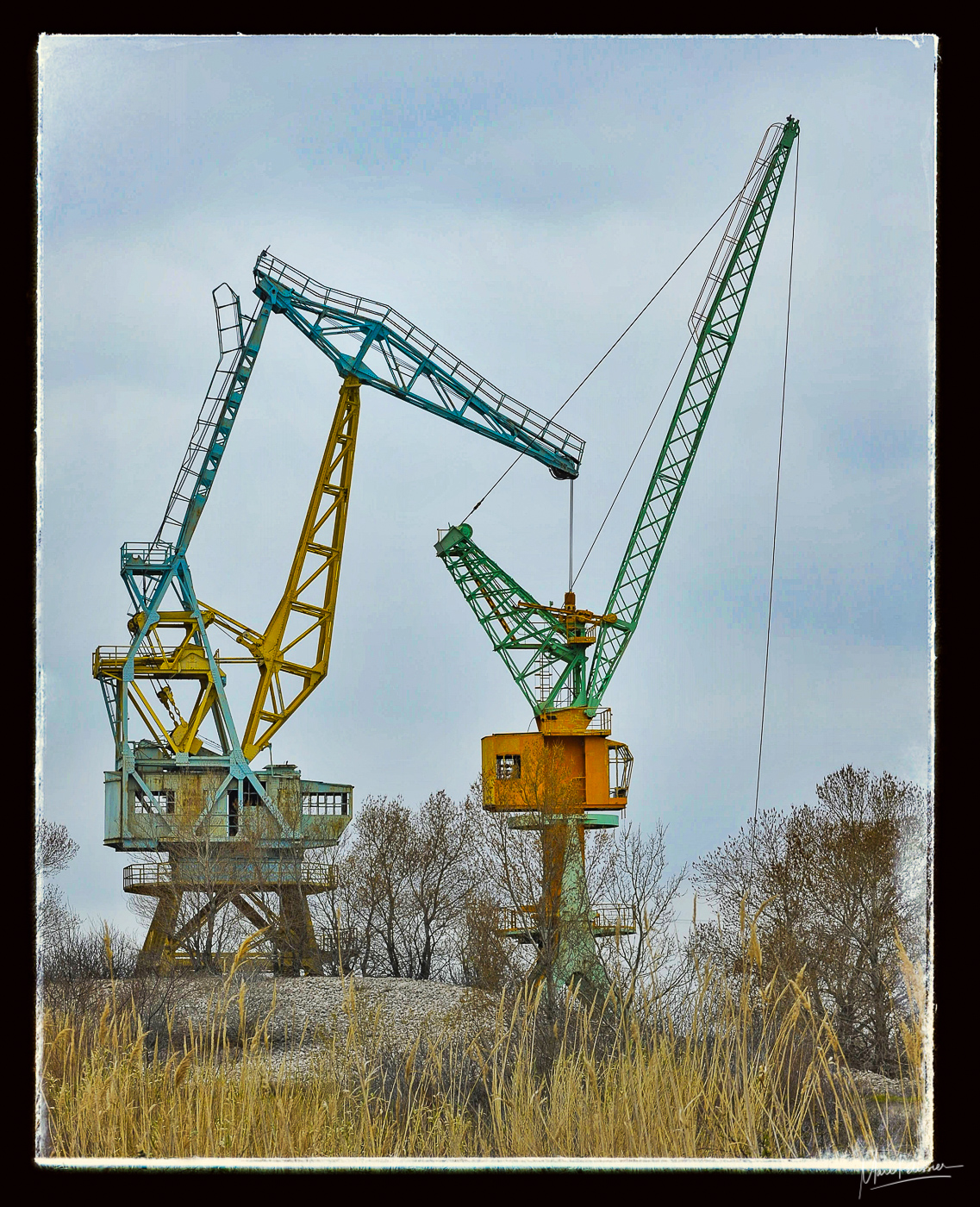 The old colored crane, France