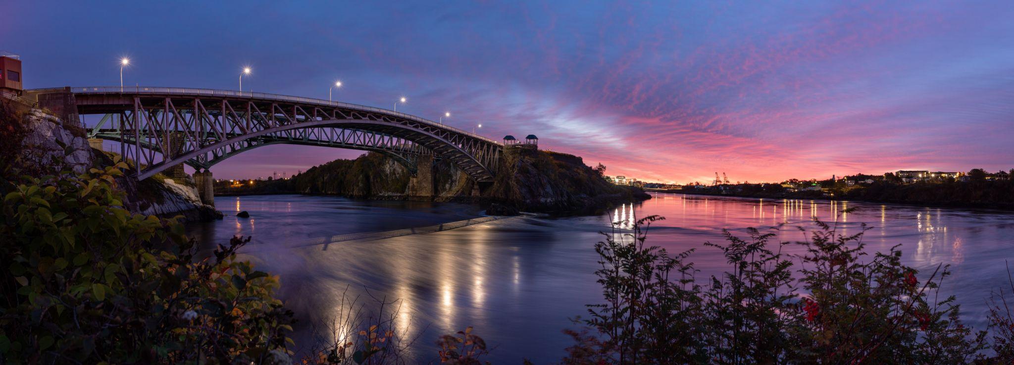 The Reversing Falls Bridge sunrise, Saint John, NB, Canada