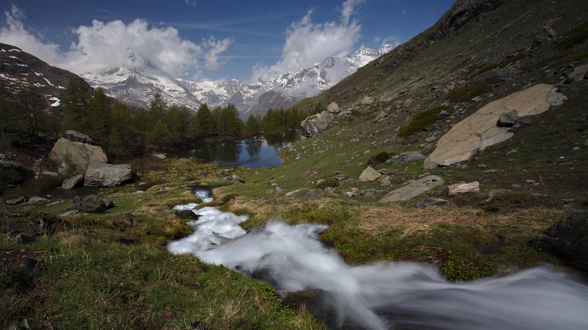 View from Grinjisee to the Matterhorn, Switzerland
