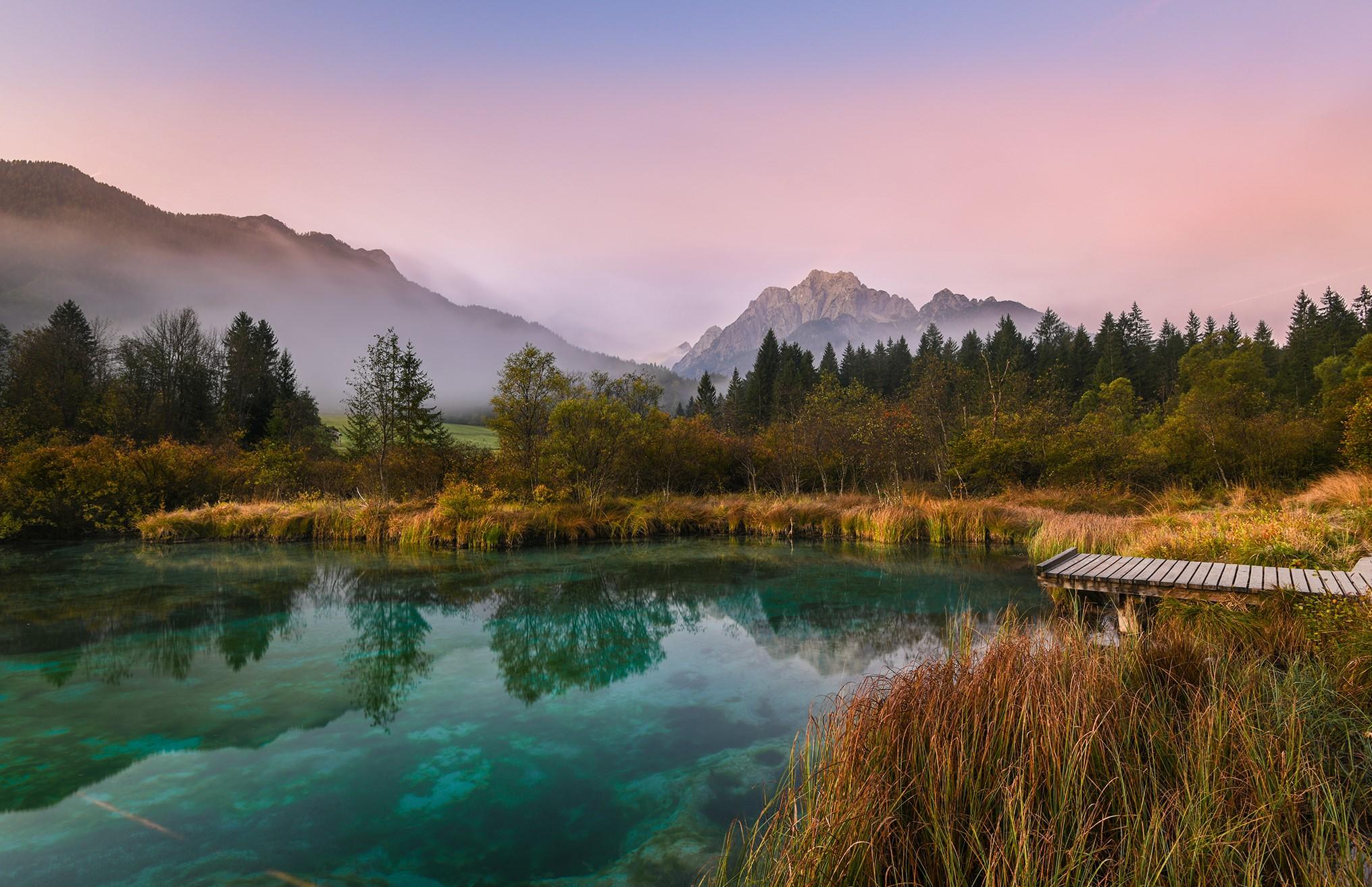 Zelenci Nature Reserve at sunrise, Slovenia