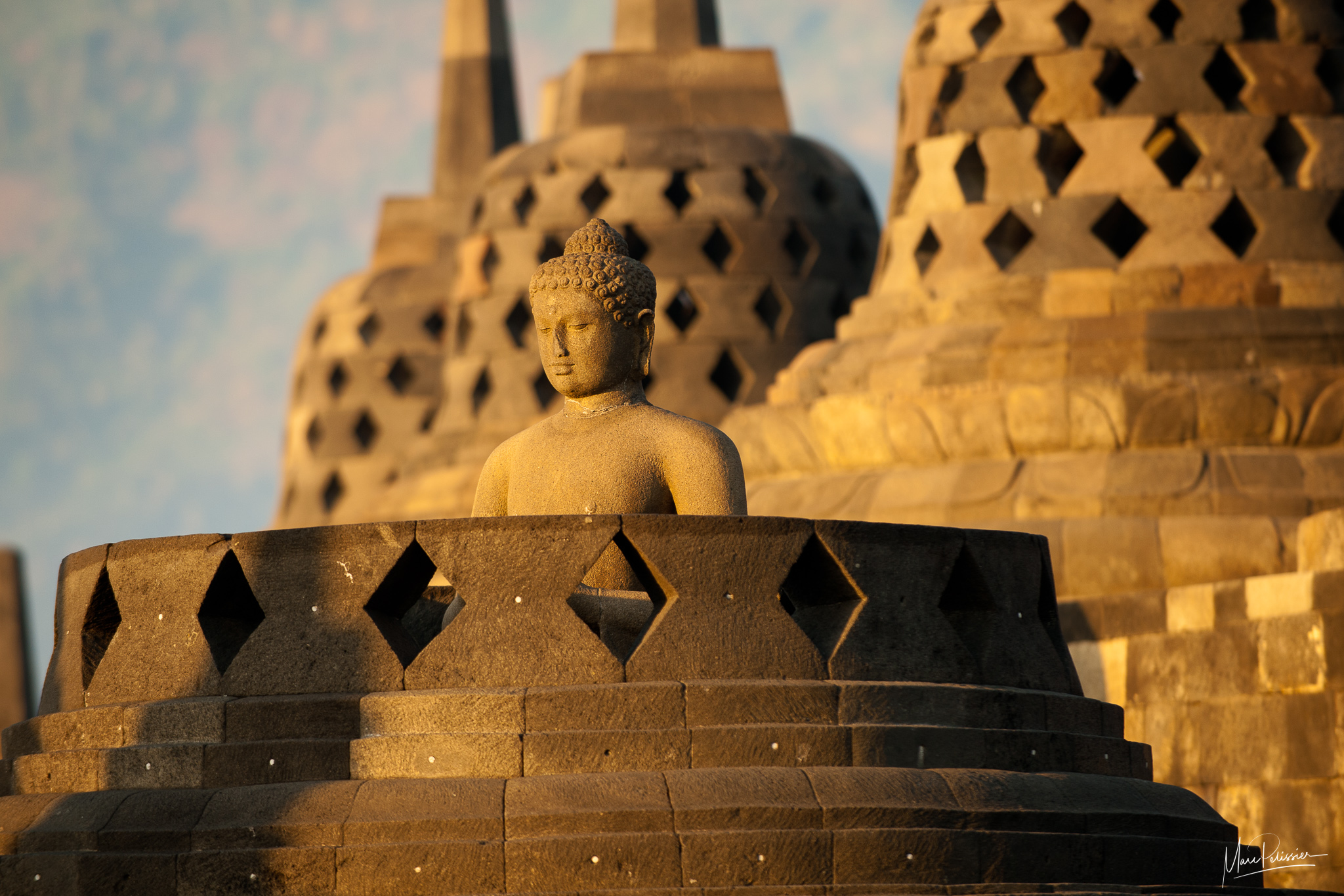 Zen sunrise on Borobudur, Indonesia