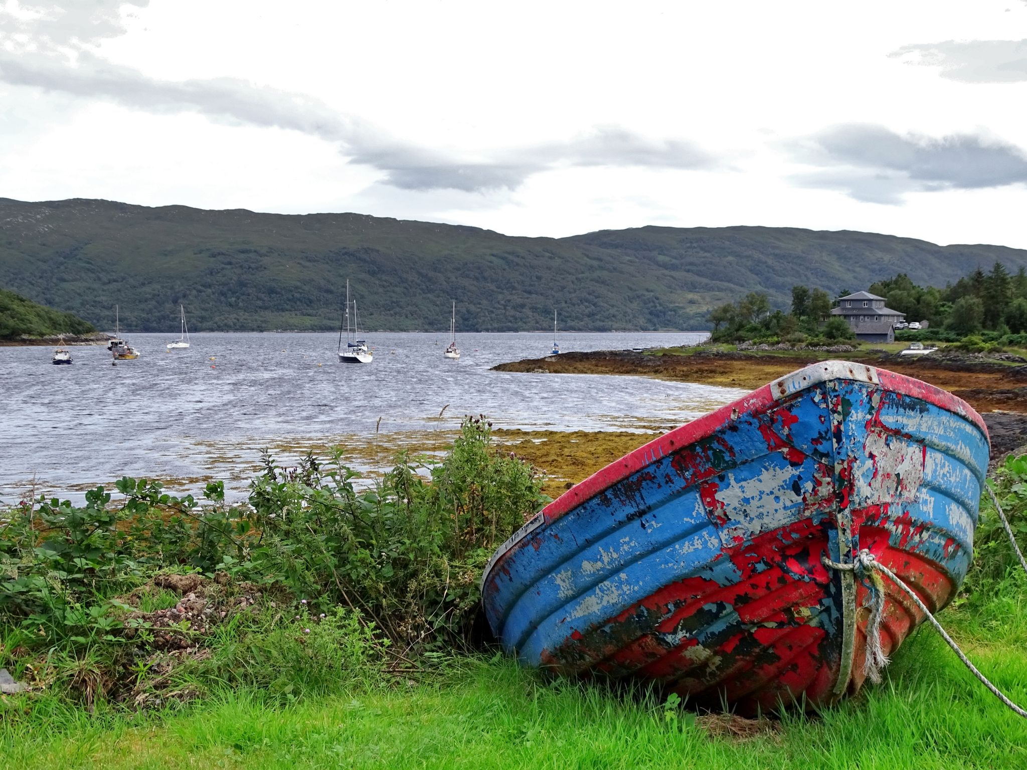 A lone boat on the Loch Sunart shore, United Kingdom