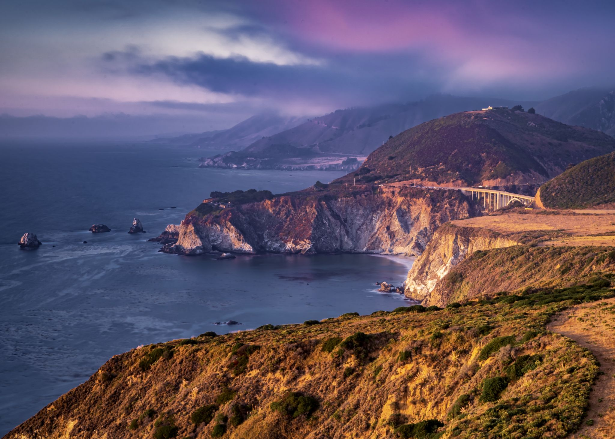 Bixby bridge from Hurricane Point view, USA