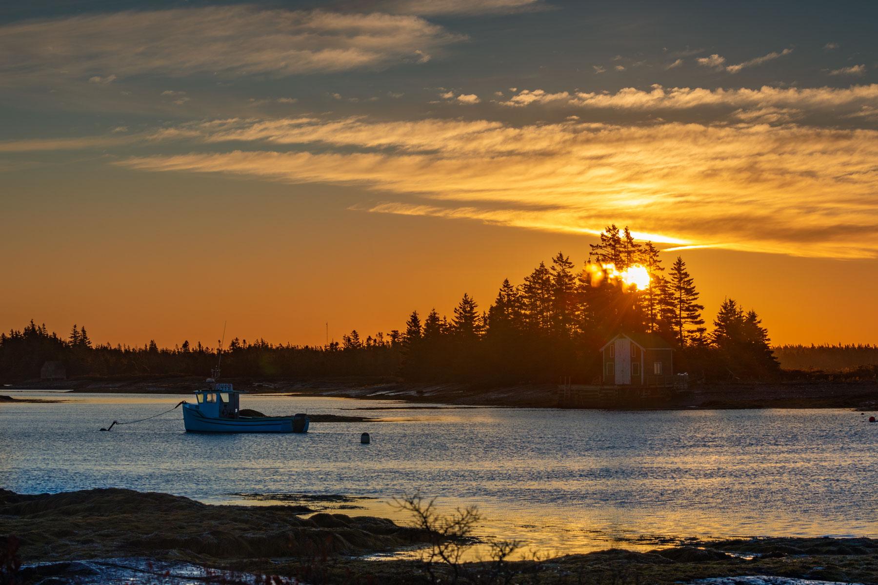 Blue Rocks sun and sunrise, Lunenburg, Nova Scotia, Canada
