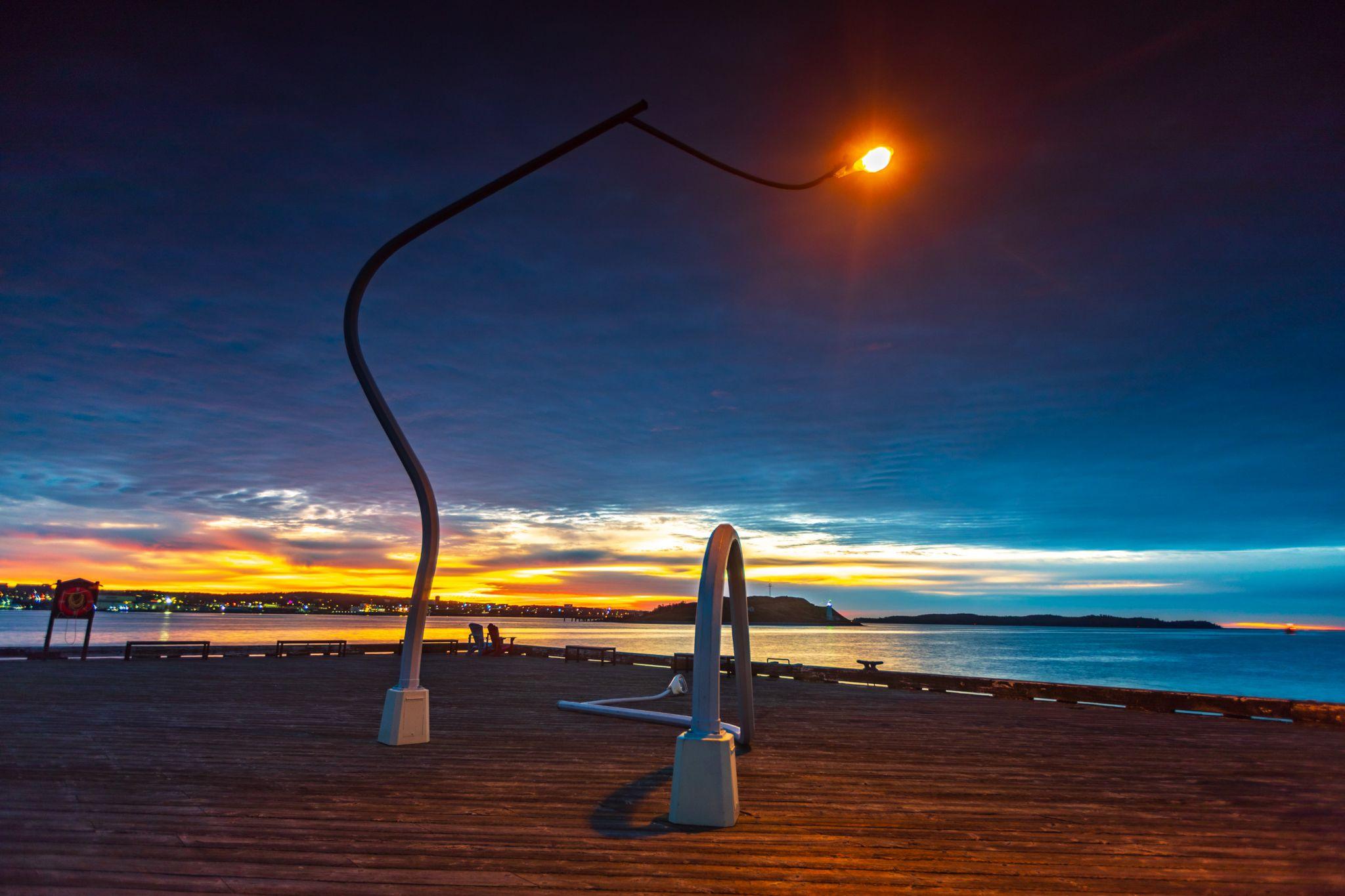 Drunken Lampposts Wharf area Halifax Nova Scotia, Canada