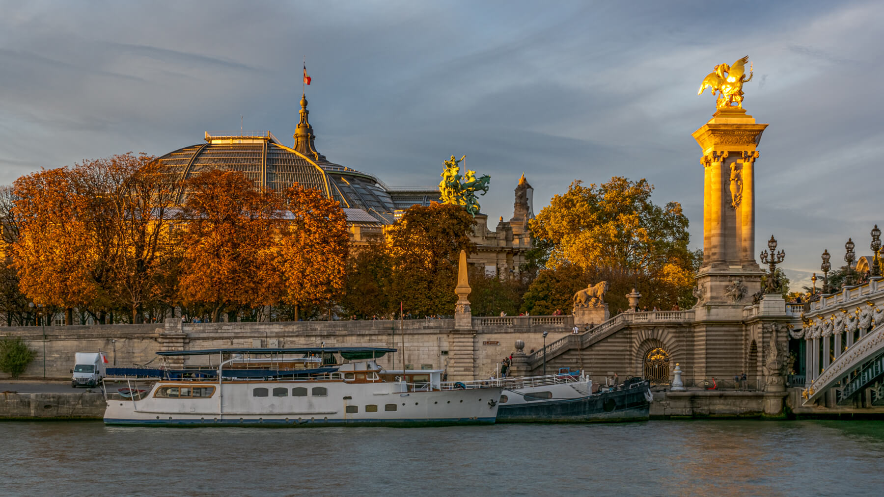 Grand Palais and Pont Alexandre III at sunset, France