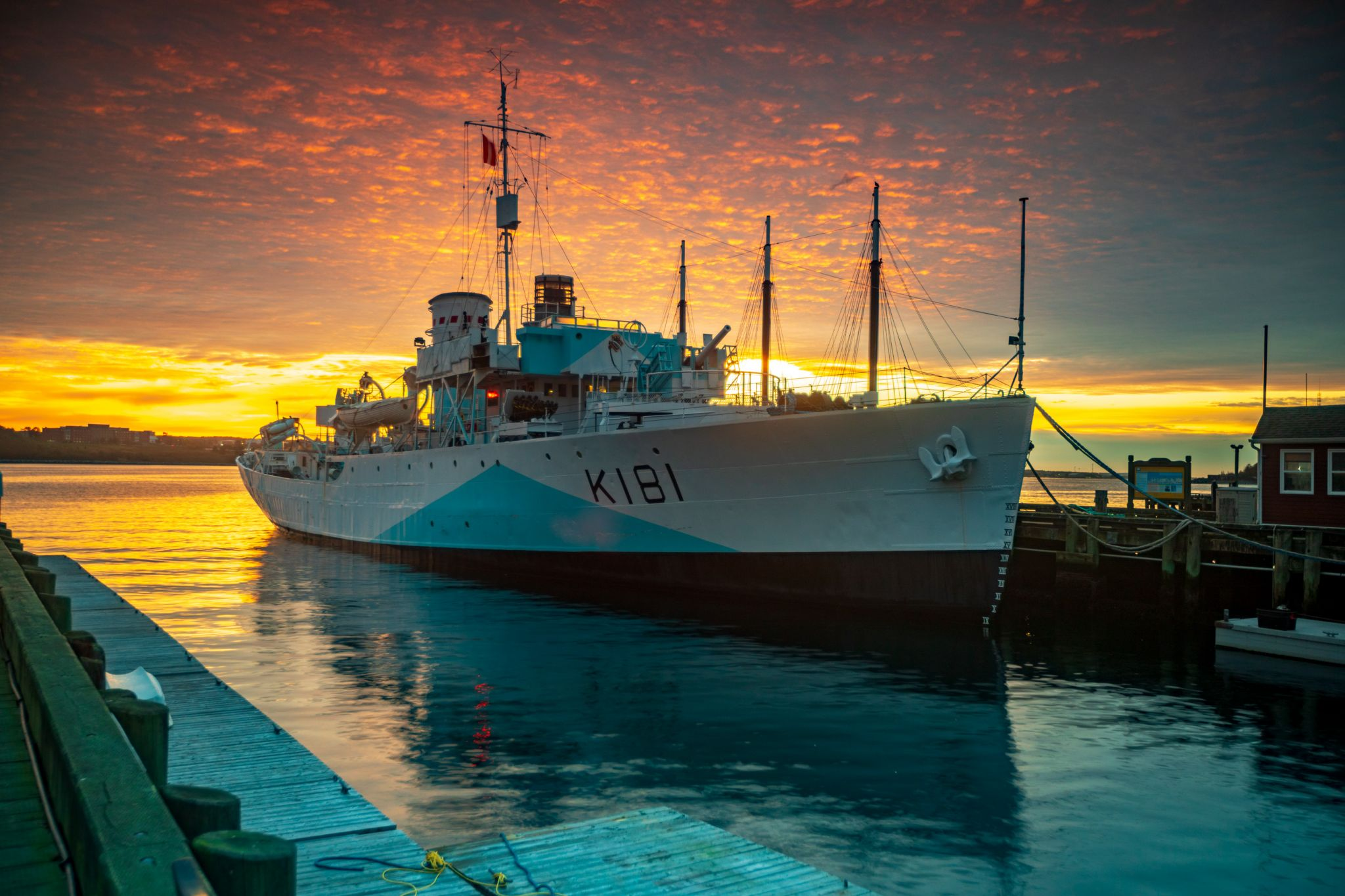 HMCS Sackville sunrise wharf Halifax, Nova Scotia, Canada