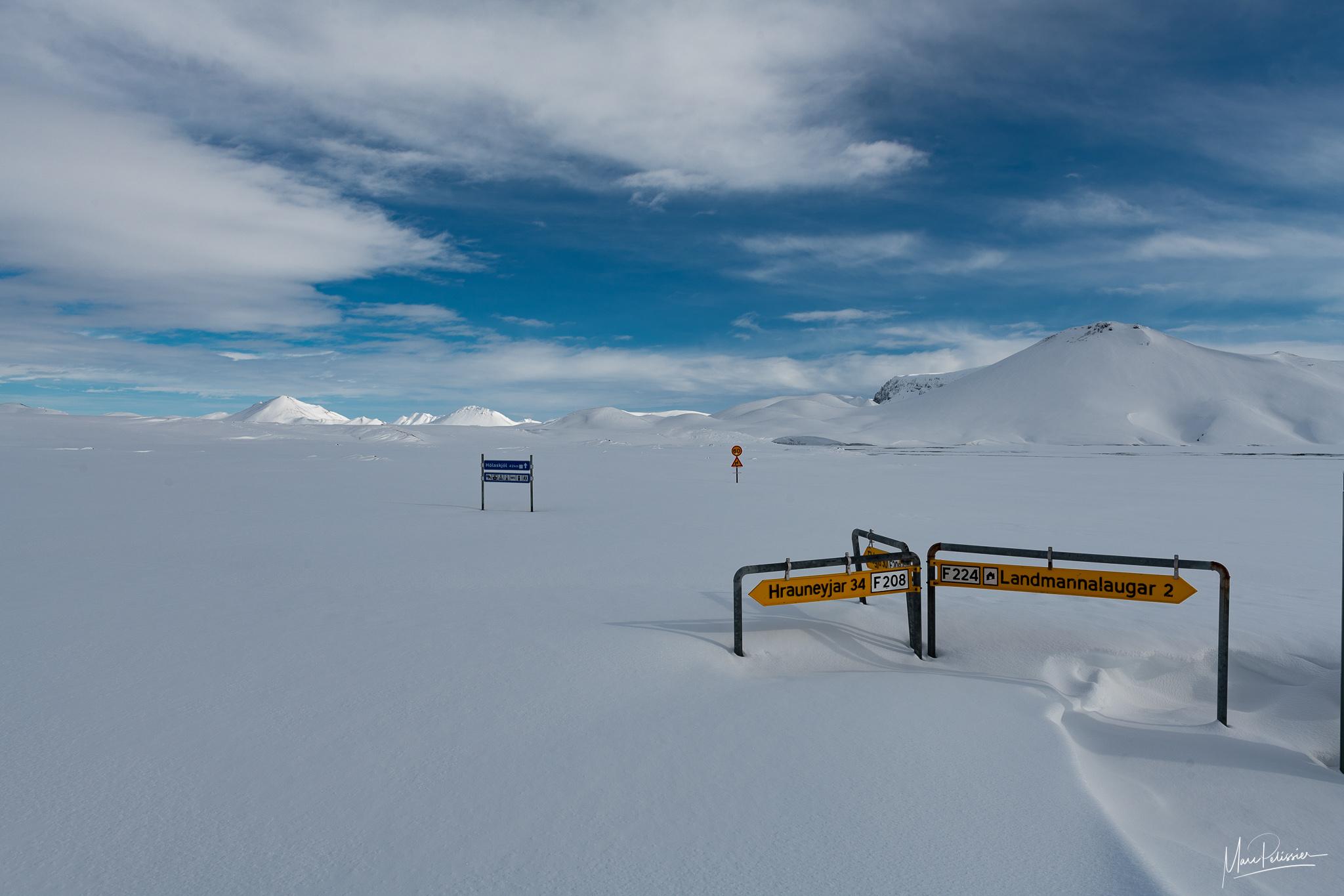 Landmannalaugar crossroad in snow, Iceland