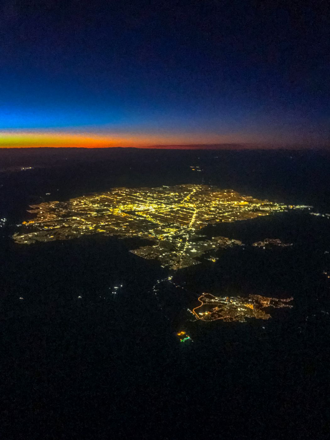 Las Vegas from the air I think! Sunset, USA
