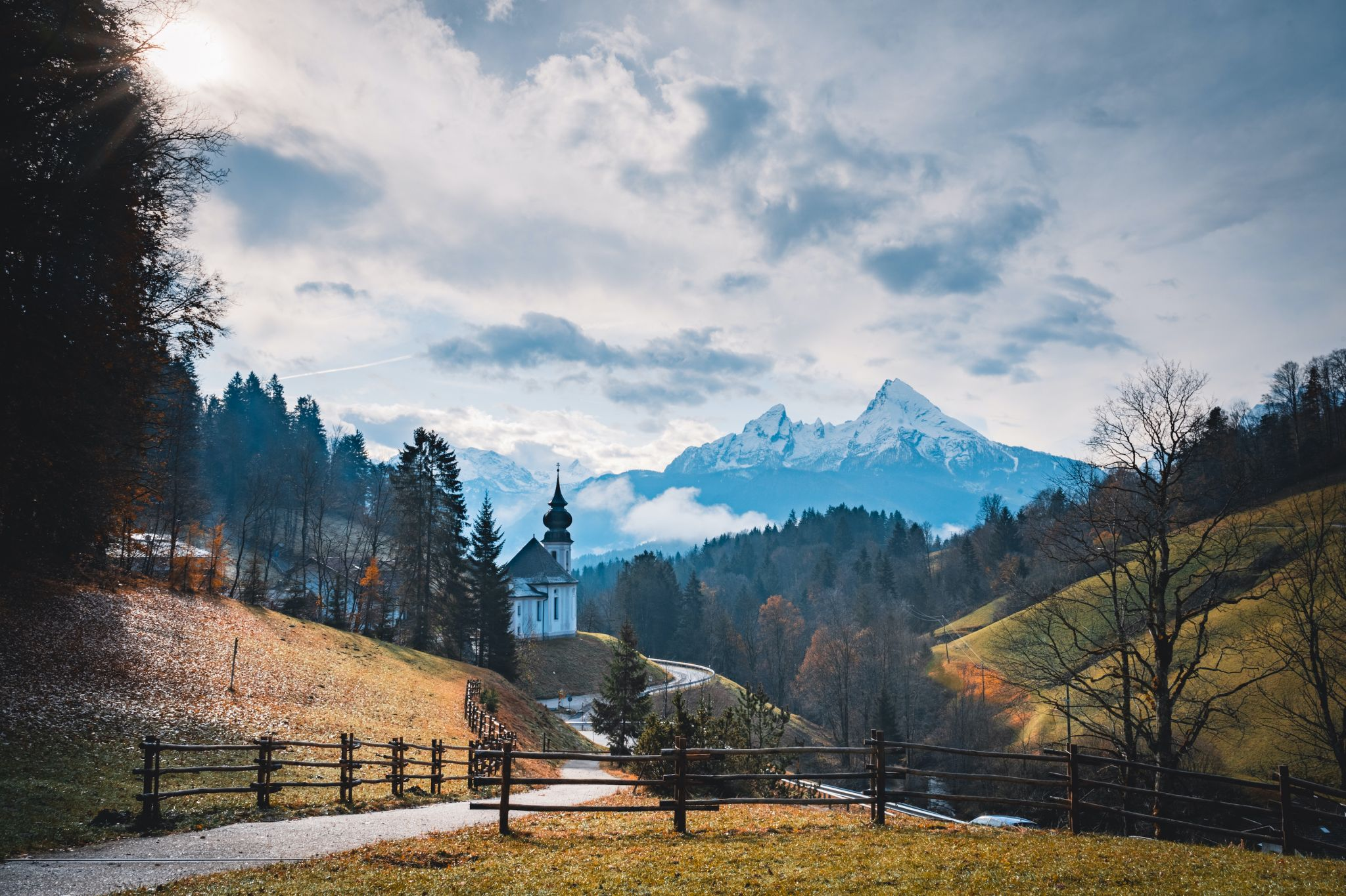 Maria Gern Church and the great mountain Watzmann, Germany