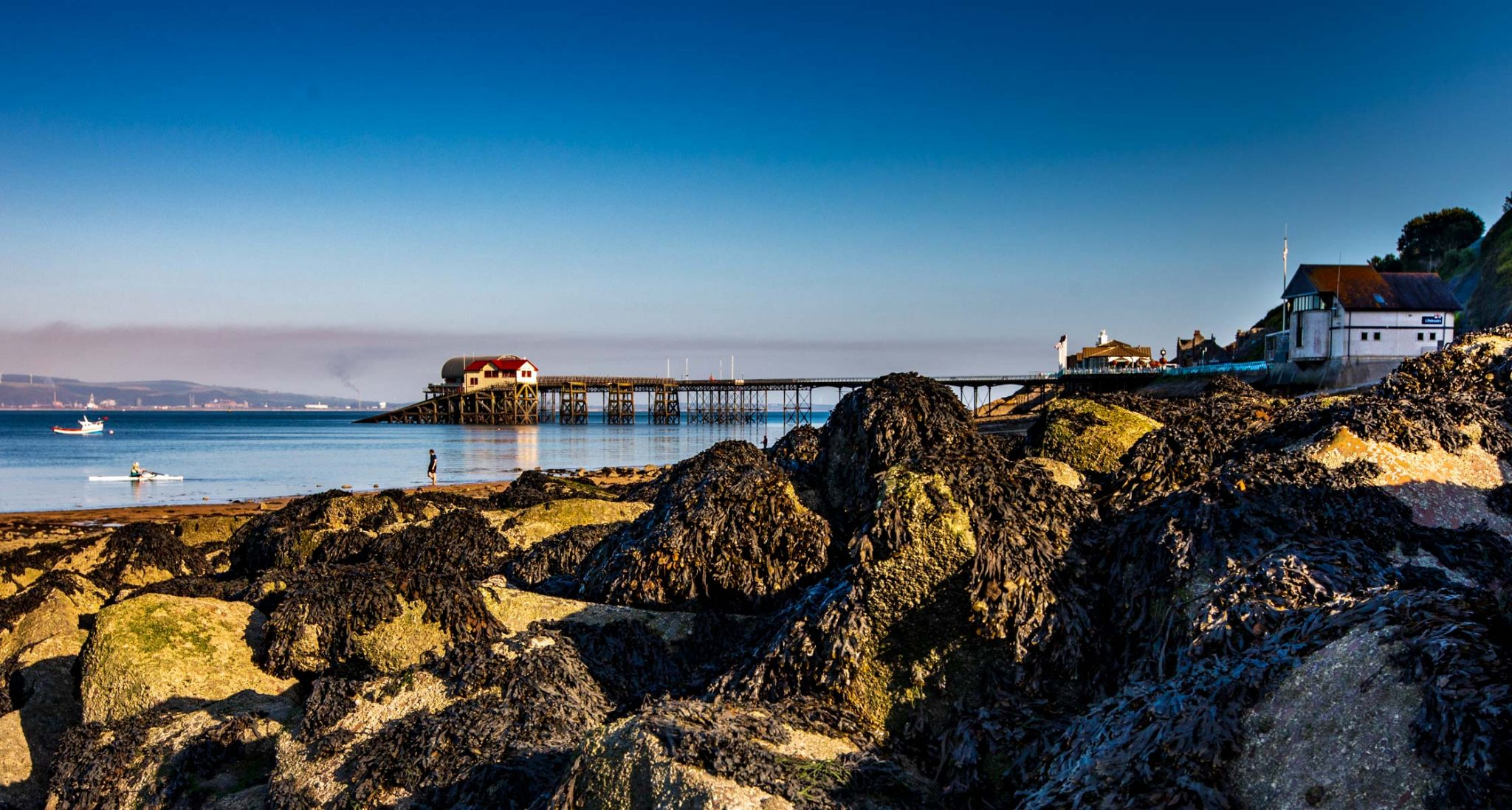 Mumbles pier from the beach Wales, United Kingdom
