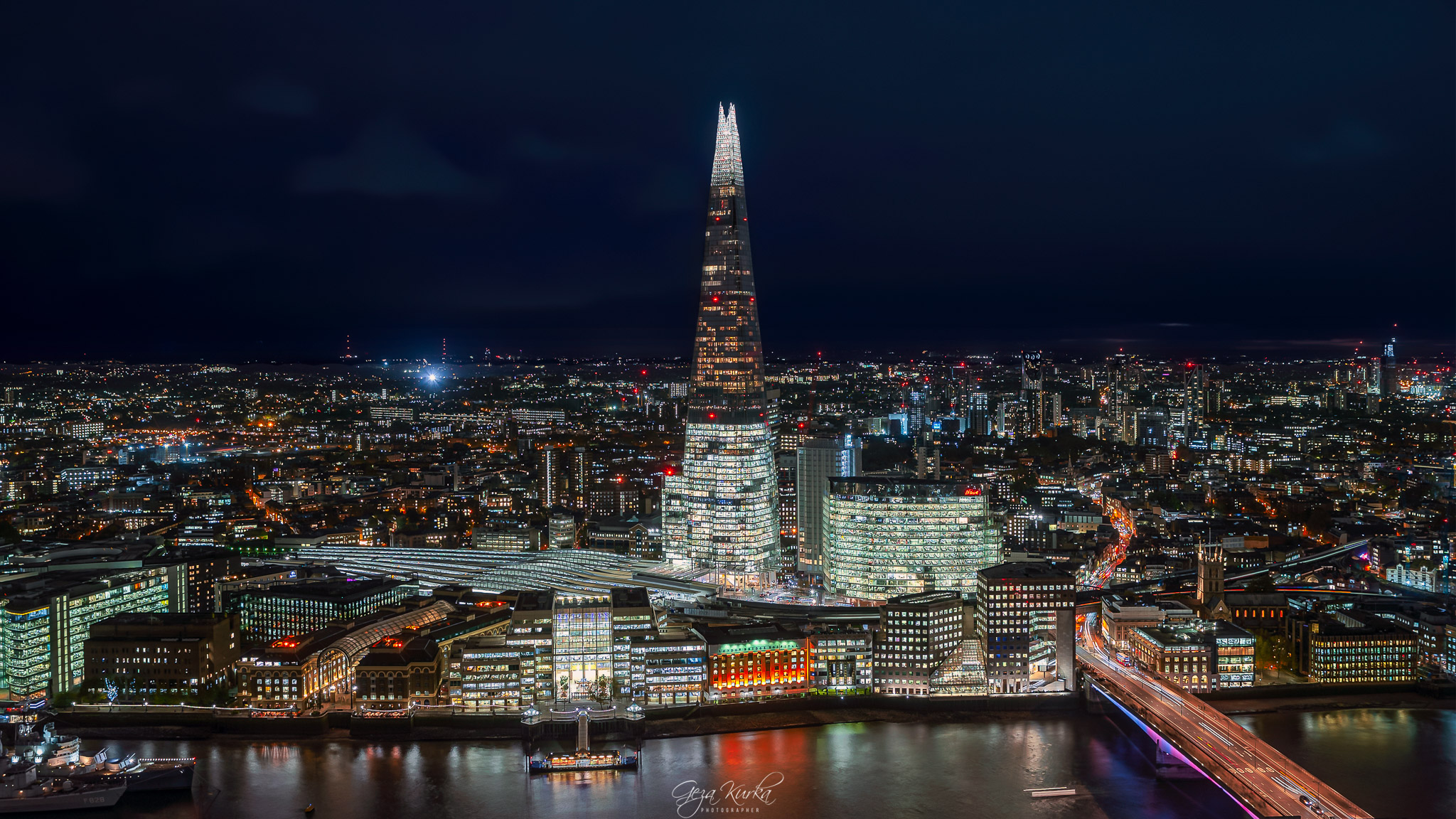 Night cityscape about London from sky garden., United Kingdom