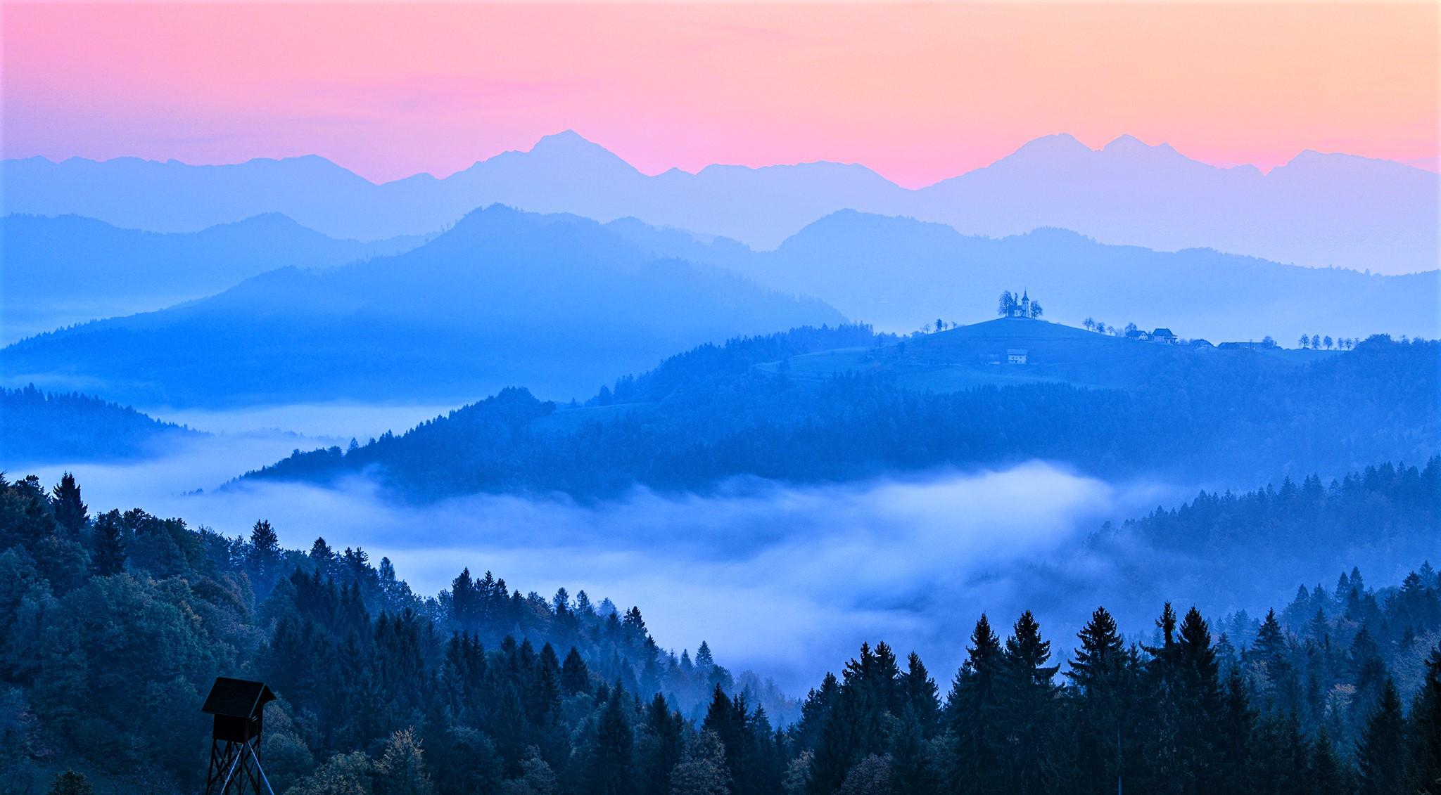 Panoramic view on Sveti Tomaz church at dawn, Slovenia
