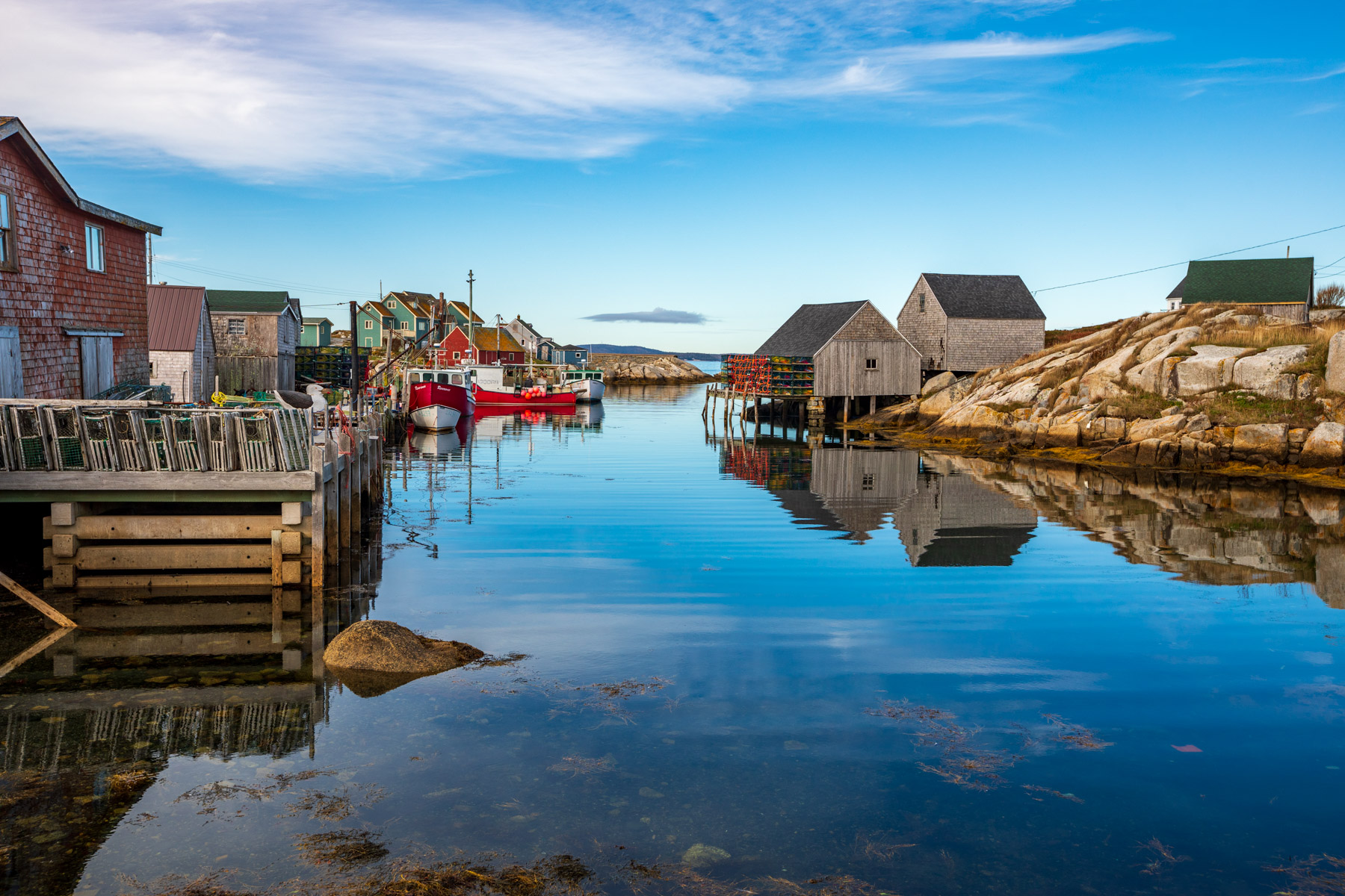 Peggy's Cove fishing huts & Reflections, Nova Scotia, Canada