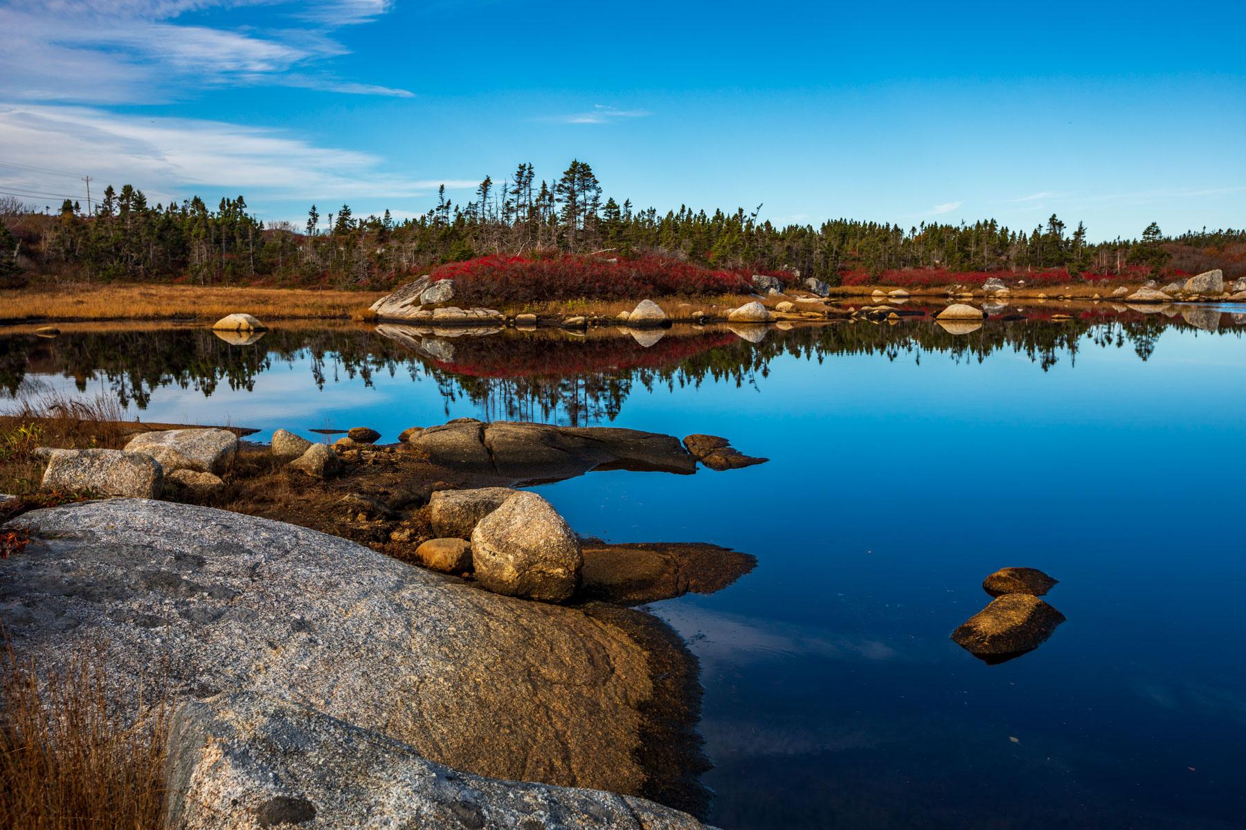 Peggys Cove SOI, autumn reflections Nova Scotia, Canada