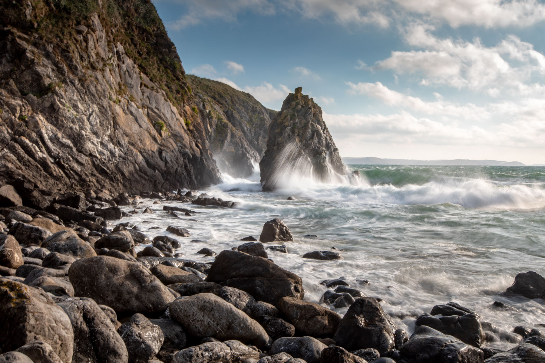 Sea Stack on the beach at Stackpole, Wales, United Kingdom