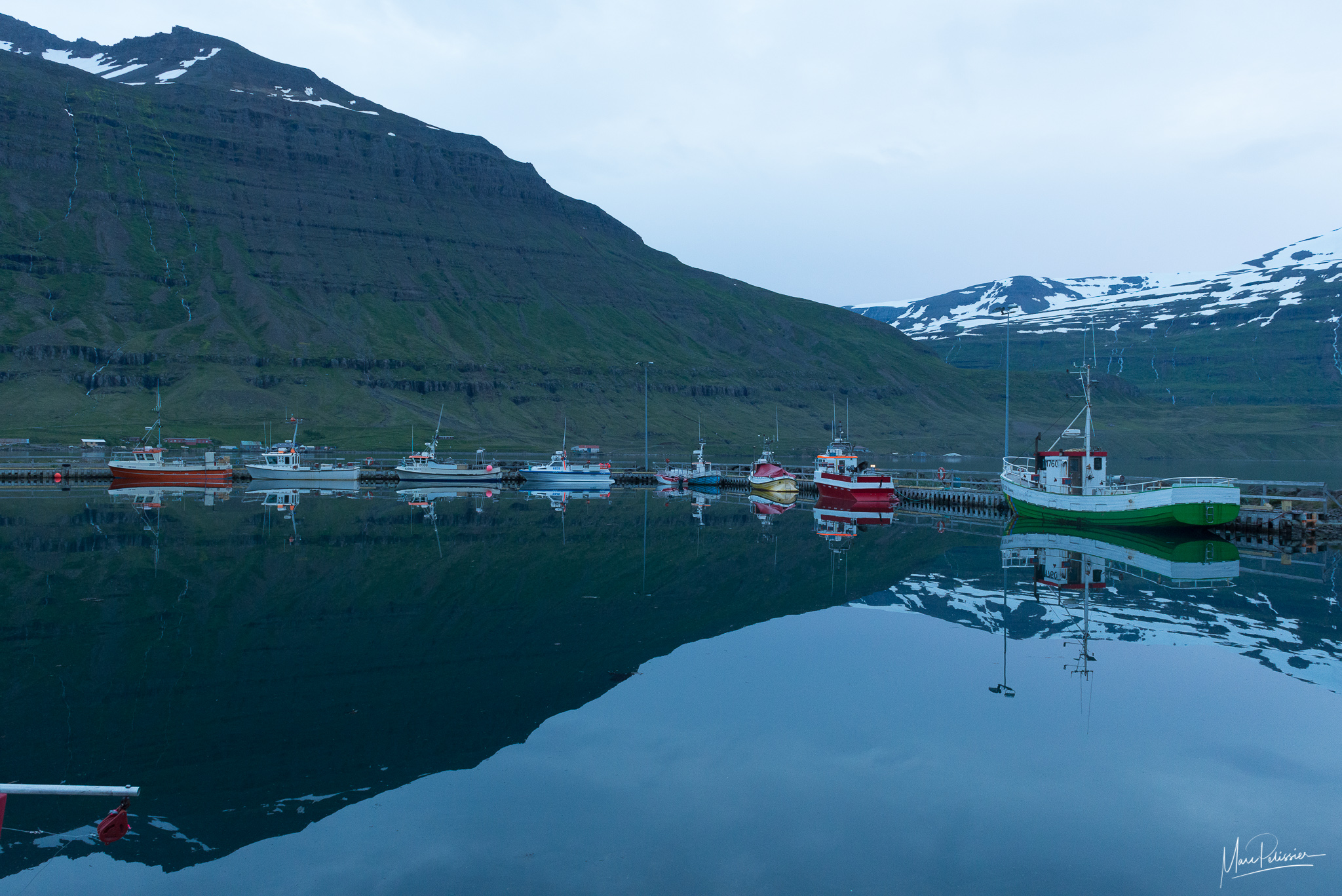 Seydisfjordur harbor at midnight, Iceland