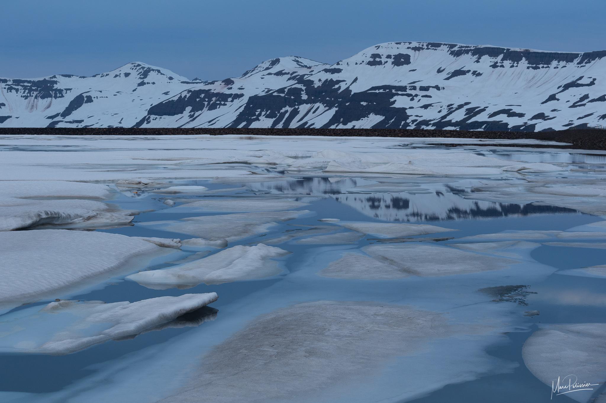 Seydisfjordur pass at midnight, Iceland
