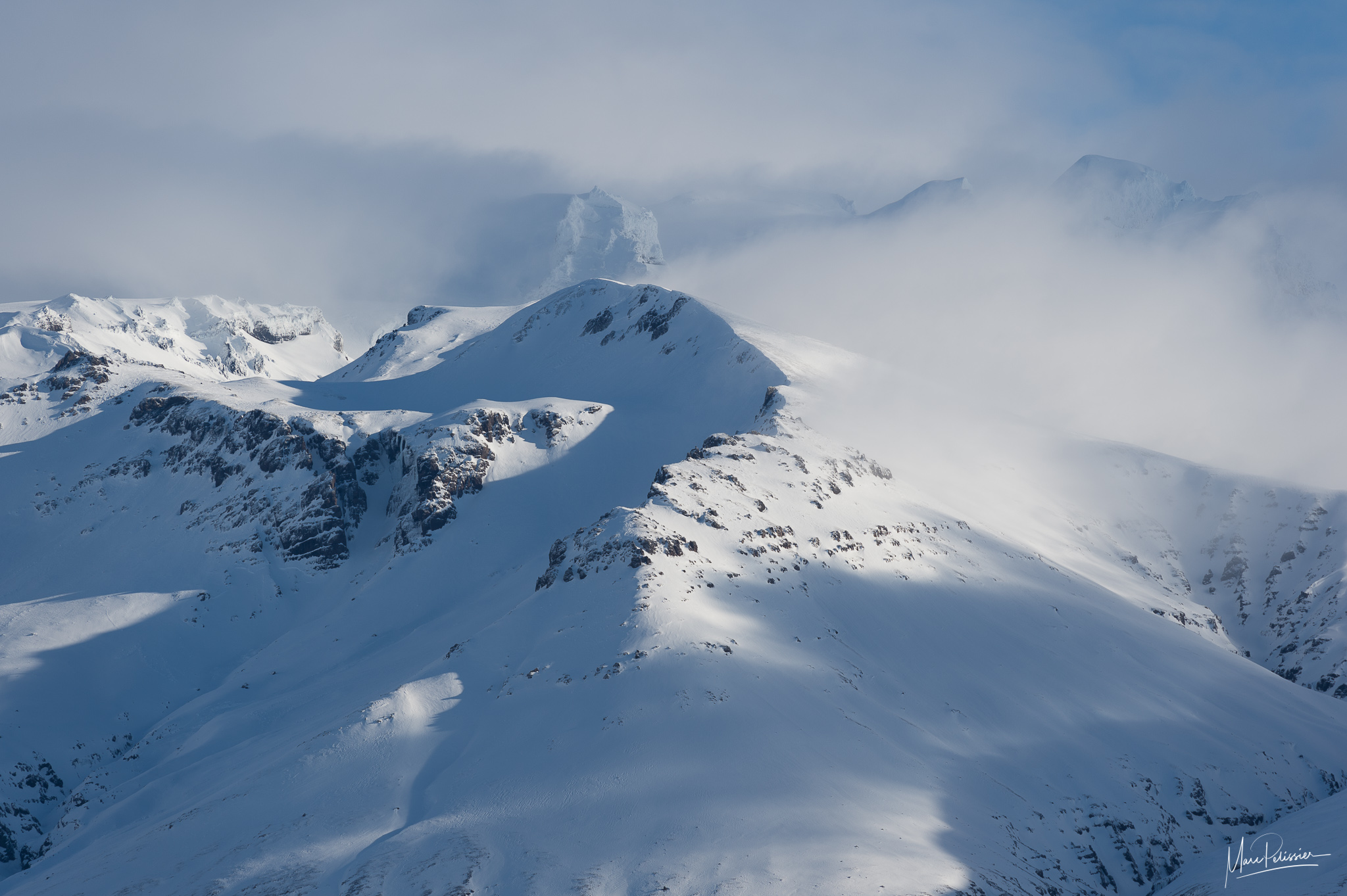 Snowy mounts above Svínafellsjökull Glacier, Iceland