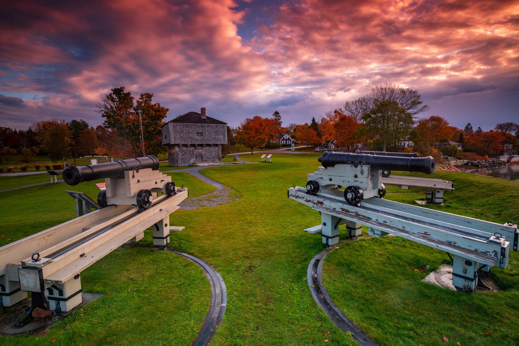 St Andrews Blockhouse looking back sunrise, New Brunswick, Canada